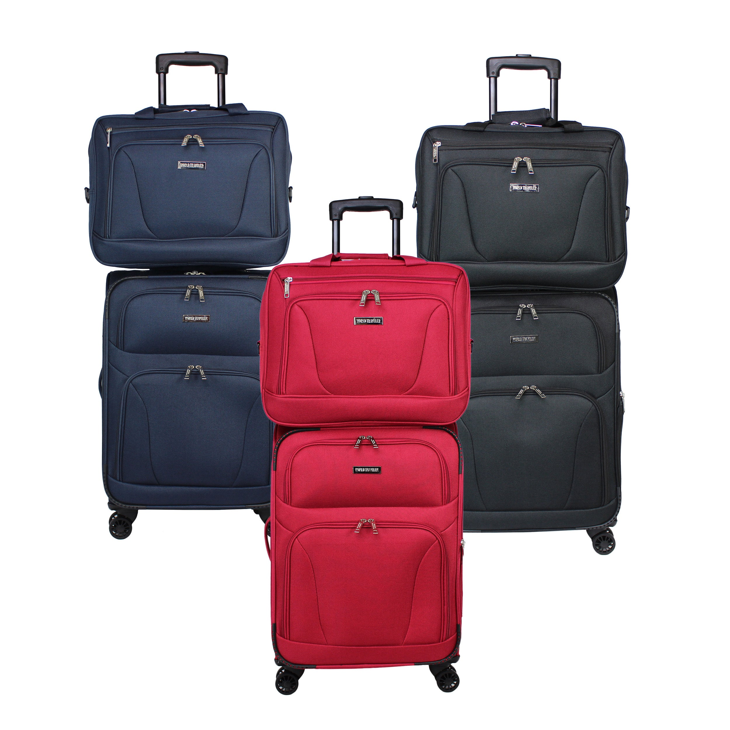 World Traveler Embarque Collection Super Lightweight 2-piece Carry On  Spinner Luggage Set 7a28a87aa45e