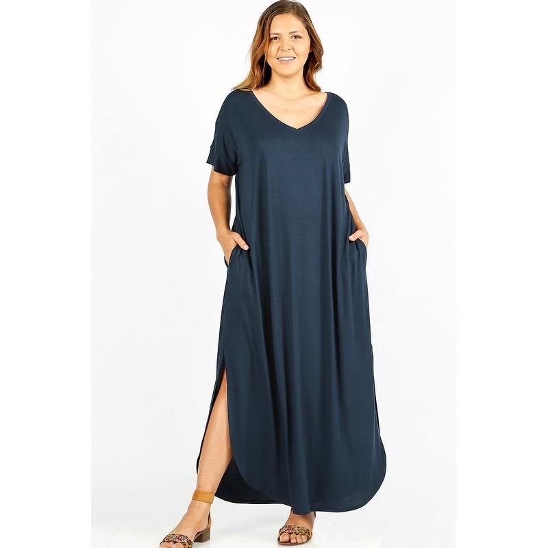 68615876a7bb Shop JED Women's Plus Size Comfy Fit V-Neck Maxi Casual Dress - Free  Shipping On Orders Over $45 - Overstock - 22322956