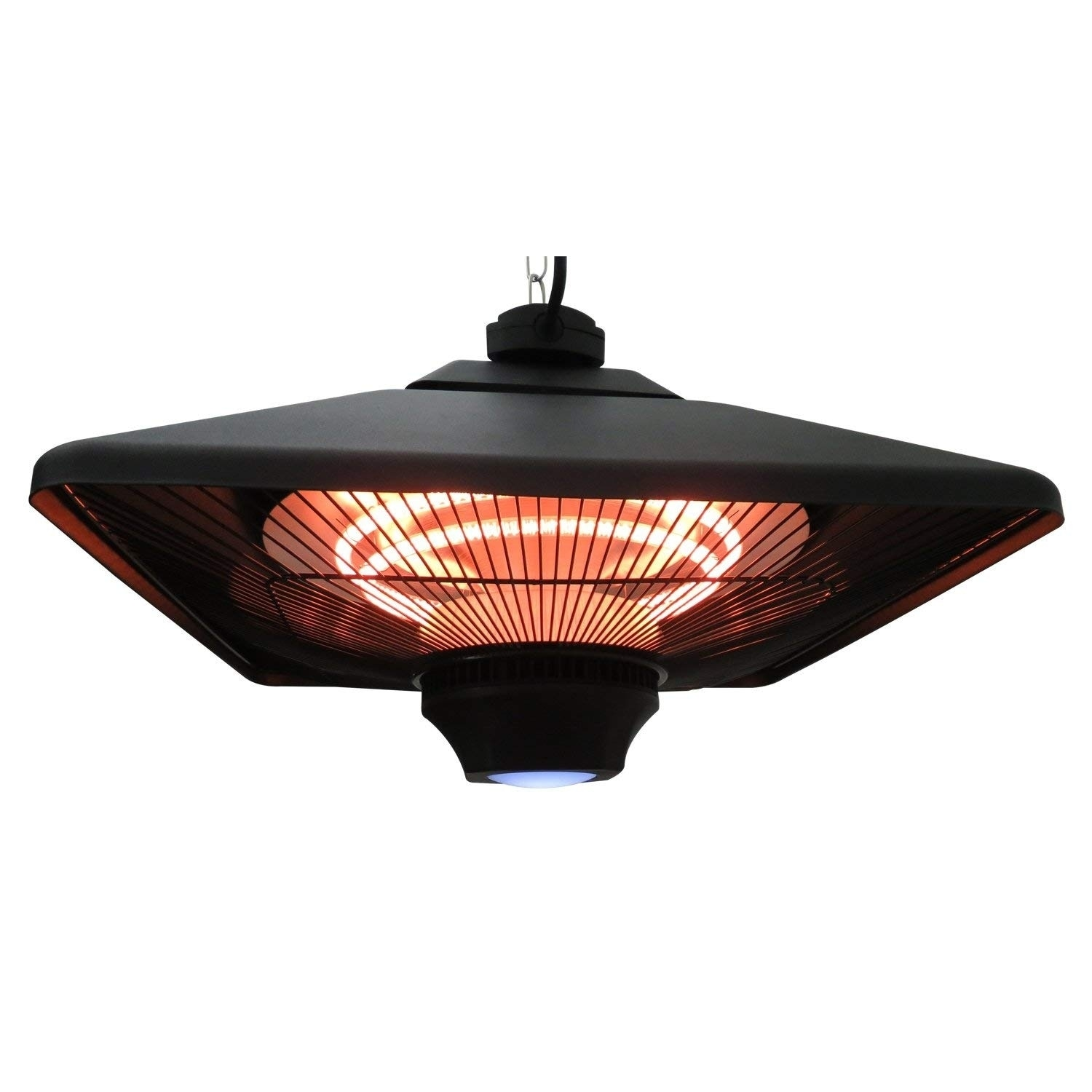 Shop Outsunny 1500W Ceiling Mounted Square Outdoor Electric Patio Heater  With LED Light And Remote Control   Free Shipping Today   Overstock.com    22326451