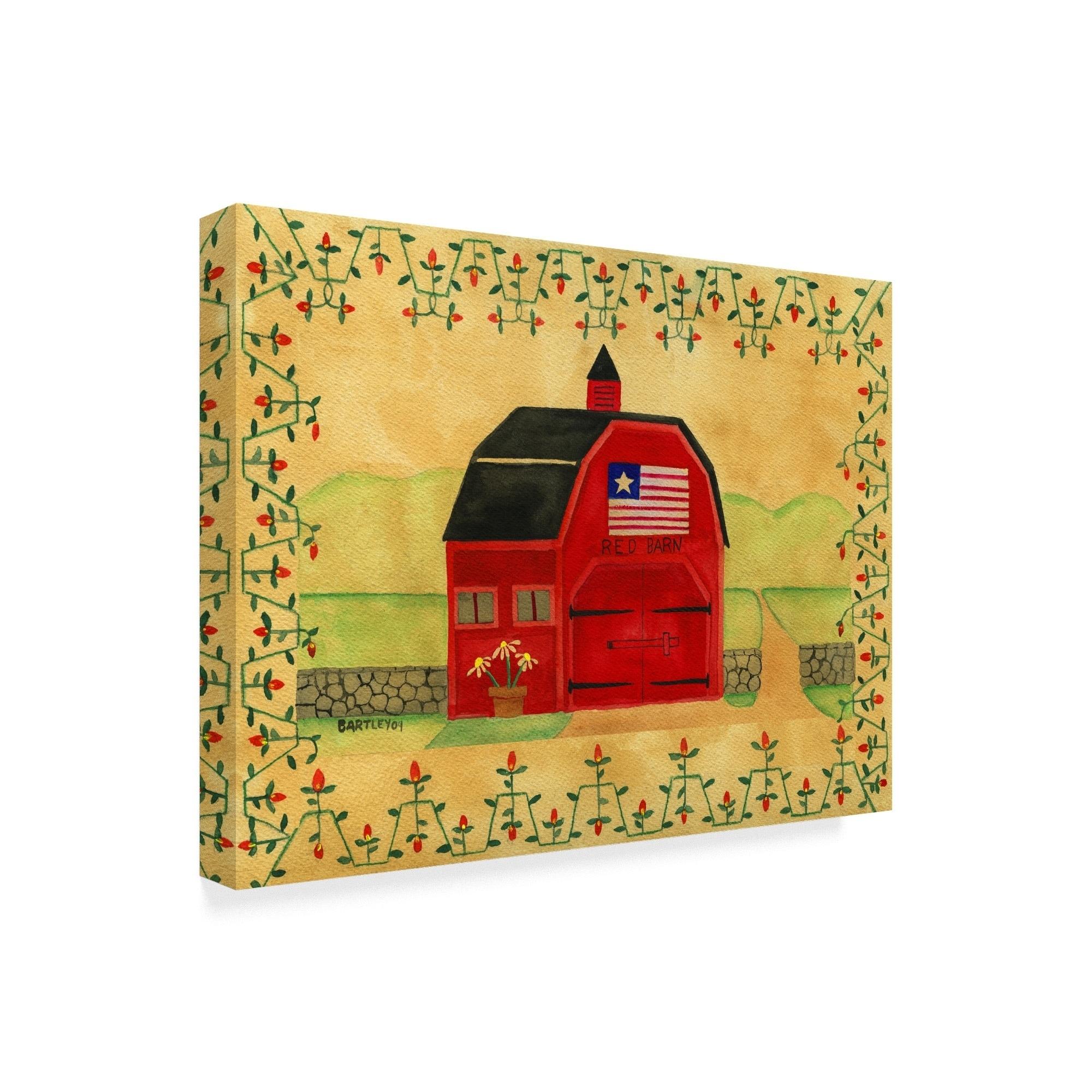 Shop Cheryl Bartley \'Primitive American Red Barn\' Canvas Art - Multi ...