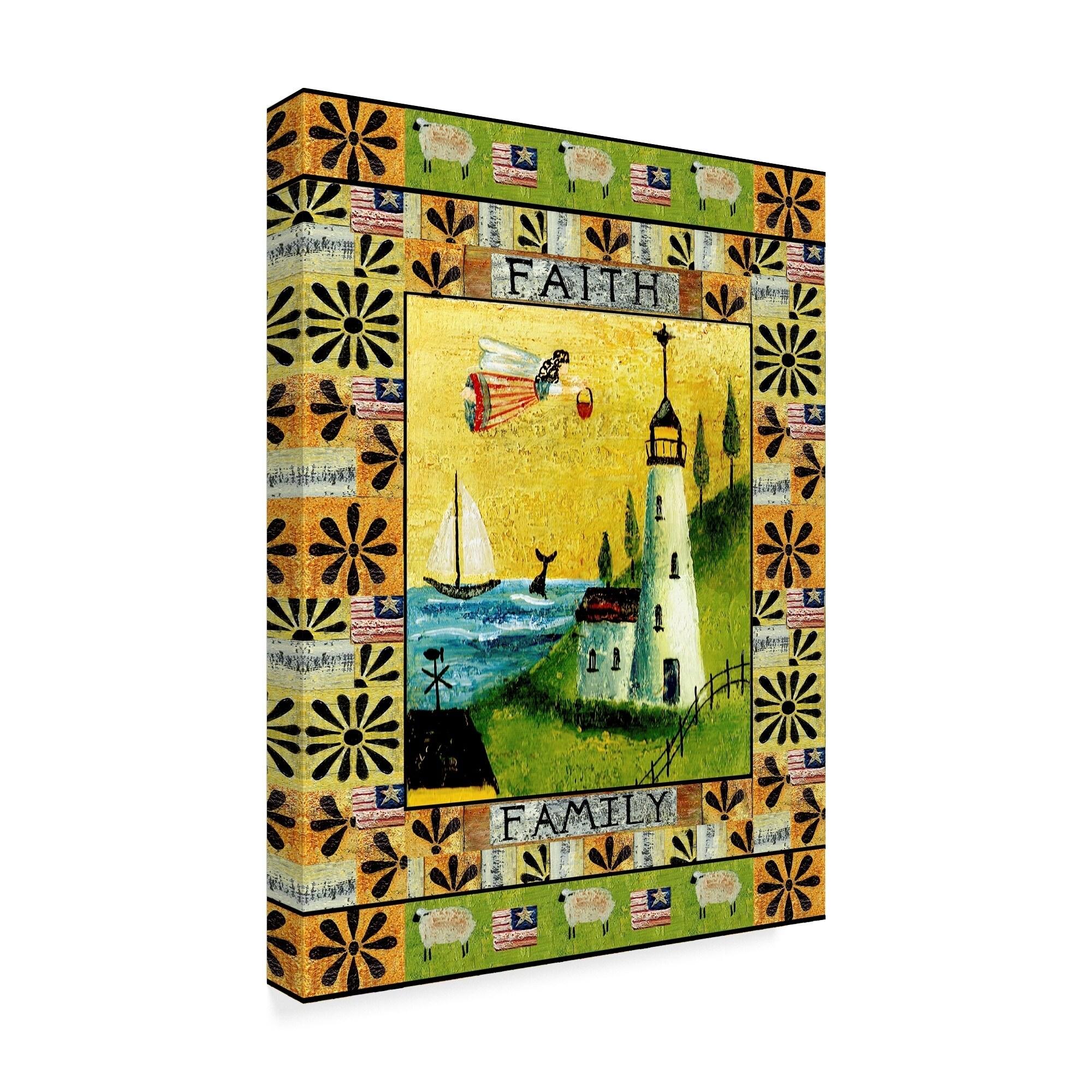 Cheryl Bartley \'Angel American Faith Family\' Canvas Art - YELLOW ...