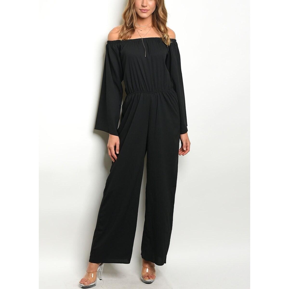 1935356dce16 Shop JED Women s Off Shoulder Elastic Waist Wide Leg Jumpsuit - Free ...