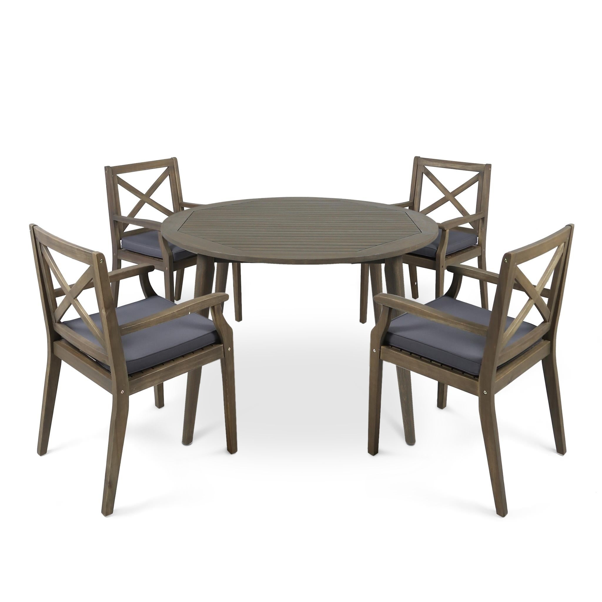 Shop Pines Outdoor 5 Piece Acacia Wood Dining Set With Cushions By  Christopher Knight Home   Free Shipping Today   Overstock.com   22341372