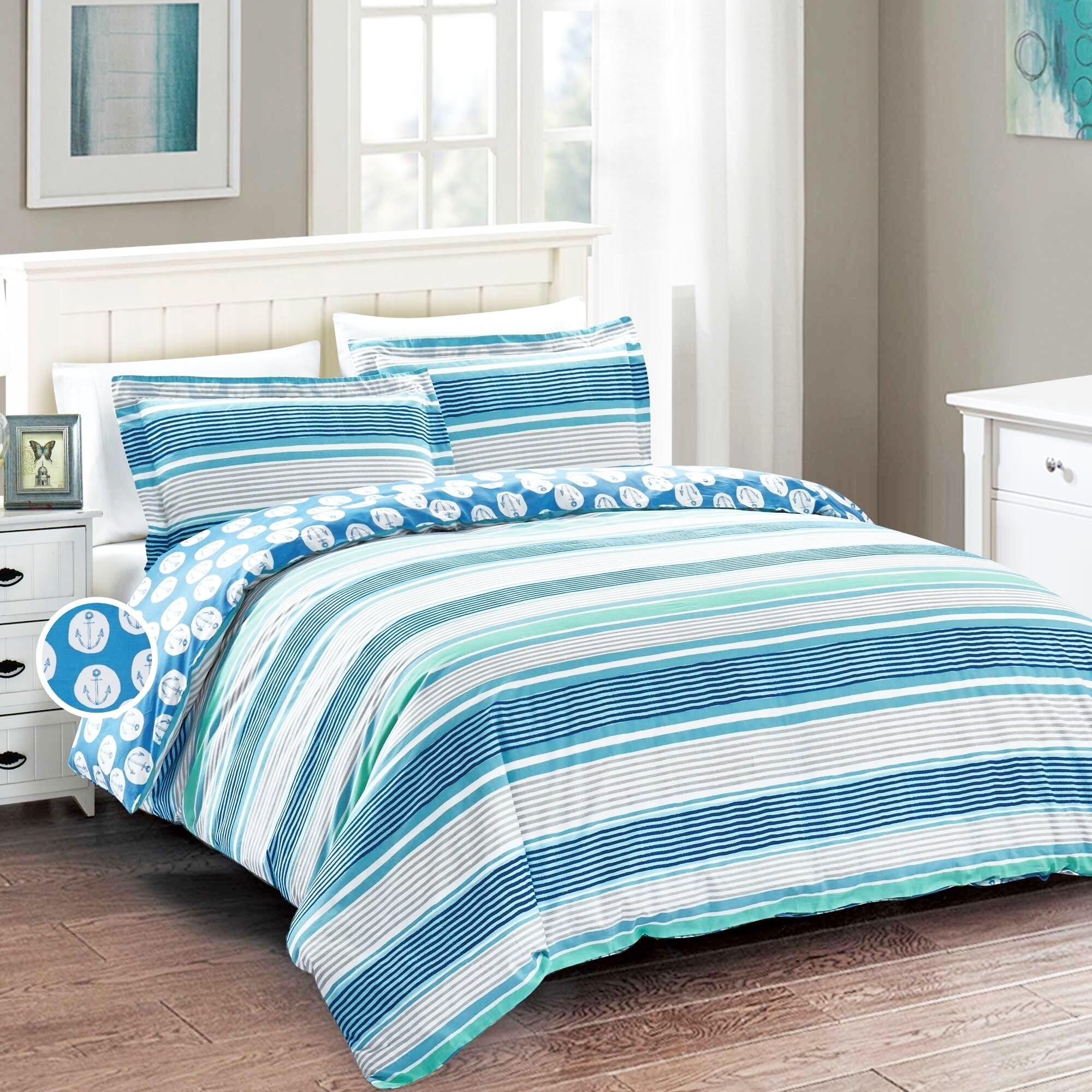 Shop California Design Den Cotton Nautical Stripe Duvet Cover Set   Free  Shipping Today   Overstock   22341386