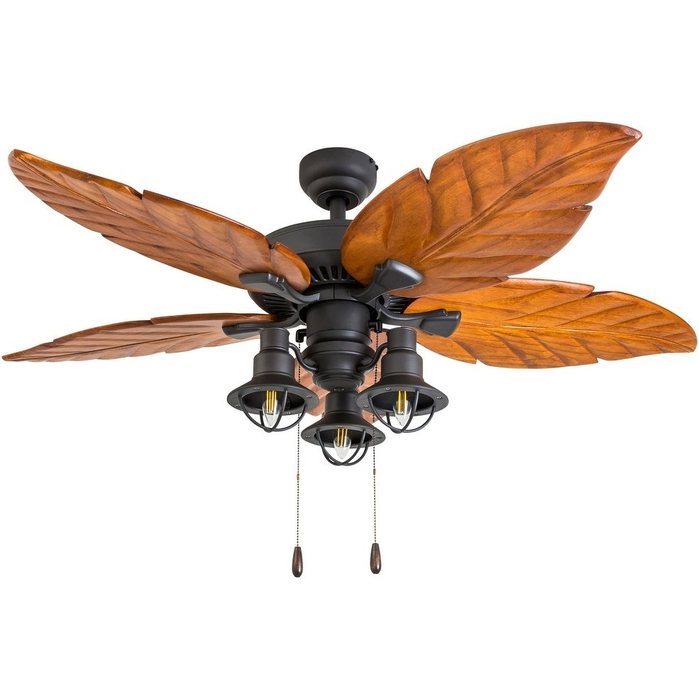 Deer Mountain Tropical Aged Bronze Steel And Wood 52 Inch 3 Sd Remote Hand Carved Blade Led Lantern Light Ceiling Fan