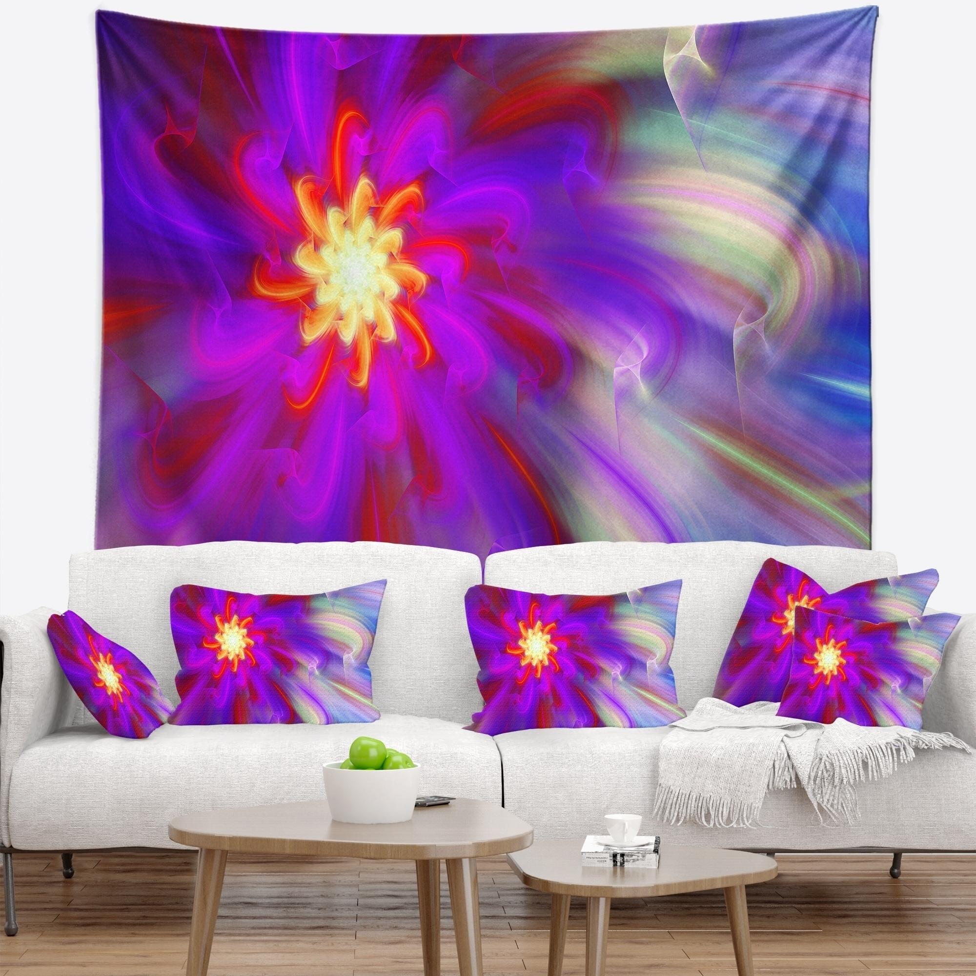 Shop Designart Beautiful Purple Flower Petals Floral Wall Tapestry
