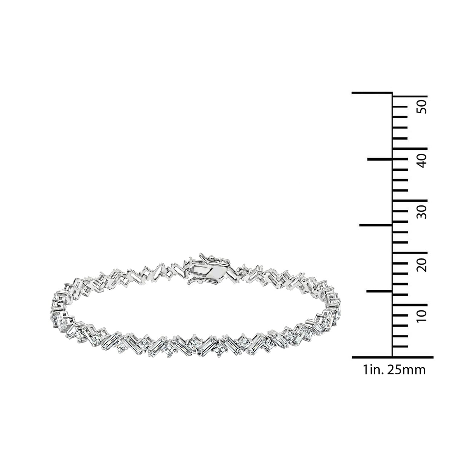 45f83ec4b65f7 Platinum-Plated Sterling Silver Clear Baguette and Square Swarovski  Zirconia Tennis Bracelet, 7,25