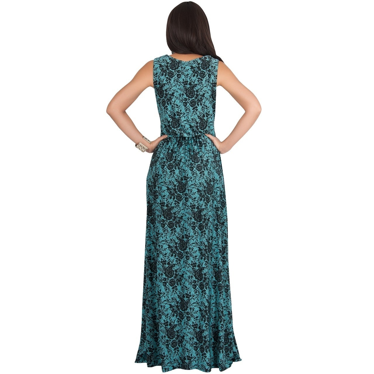 78405cad0c Shop KOH KOH Womens Sleeveless Lace Floral Print Semi Formal Maxi Dress -  Free Shipping On Orders Over  45 - Overstock - 22363793