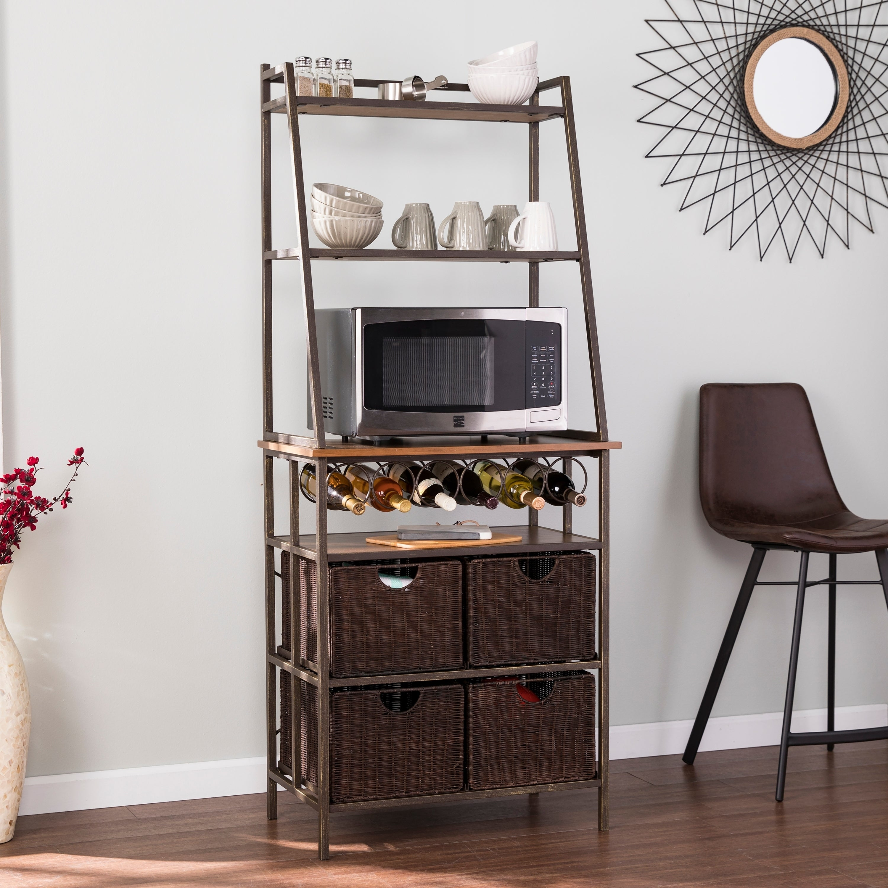 Harper Blvd Archie Metal Bakers Rack W Wine Storage And Baskets On Free Shipping Today 22367210