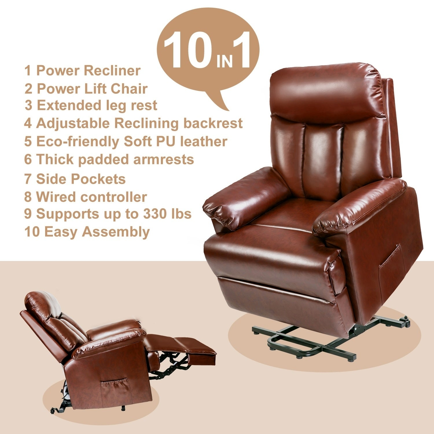 Shop Merax Power Lift Chair Recliner In PU Leather Living Room Recliner  With Heavy Duty Mechanism And Remote Control   On Sale   Free Shipping  Today ...