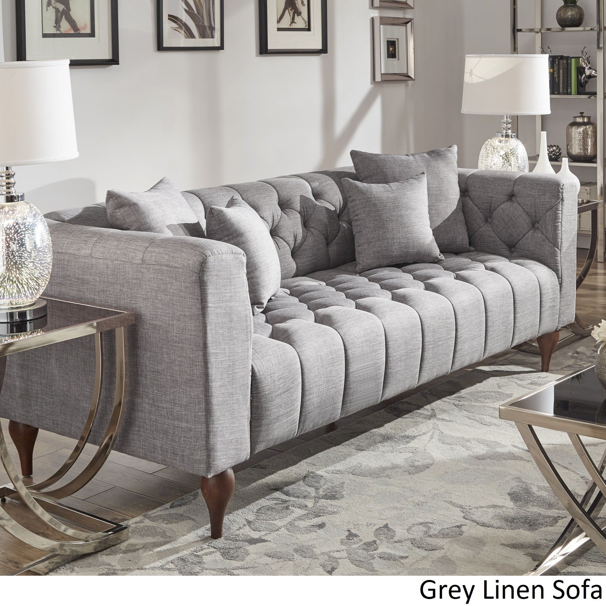 Shop Danise Tufted Linen Upholstered Tuxedo Arm Sofa By INSPIRE Q Artisan    Free Shipping Today   Overstock.com   22377378