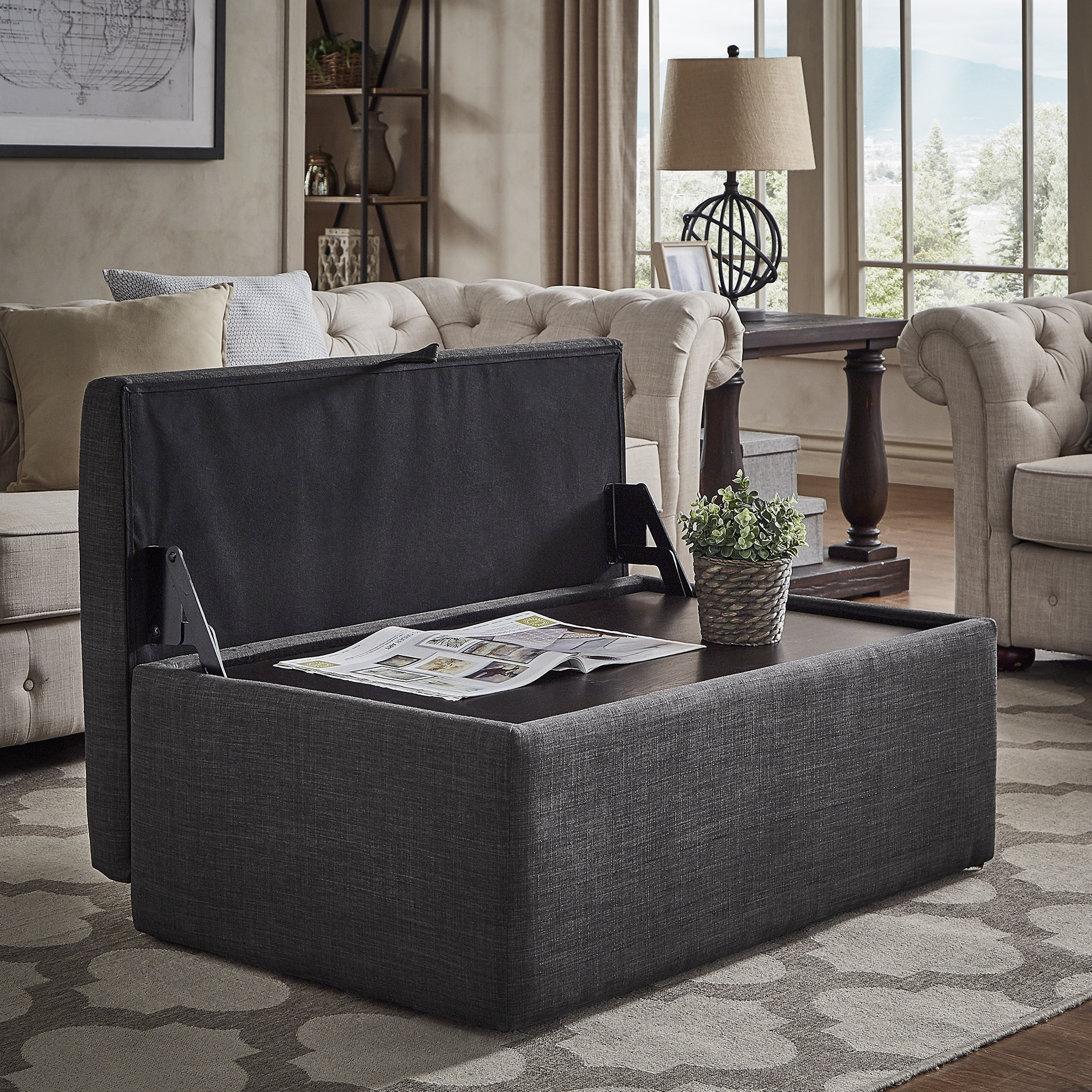 Upholstered Storage Ottoman Coffee Table