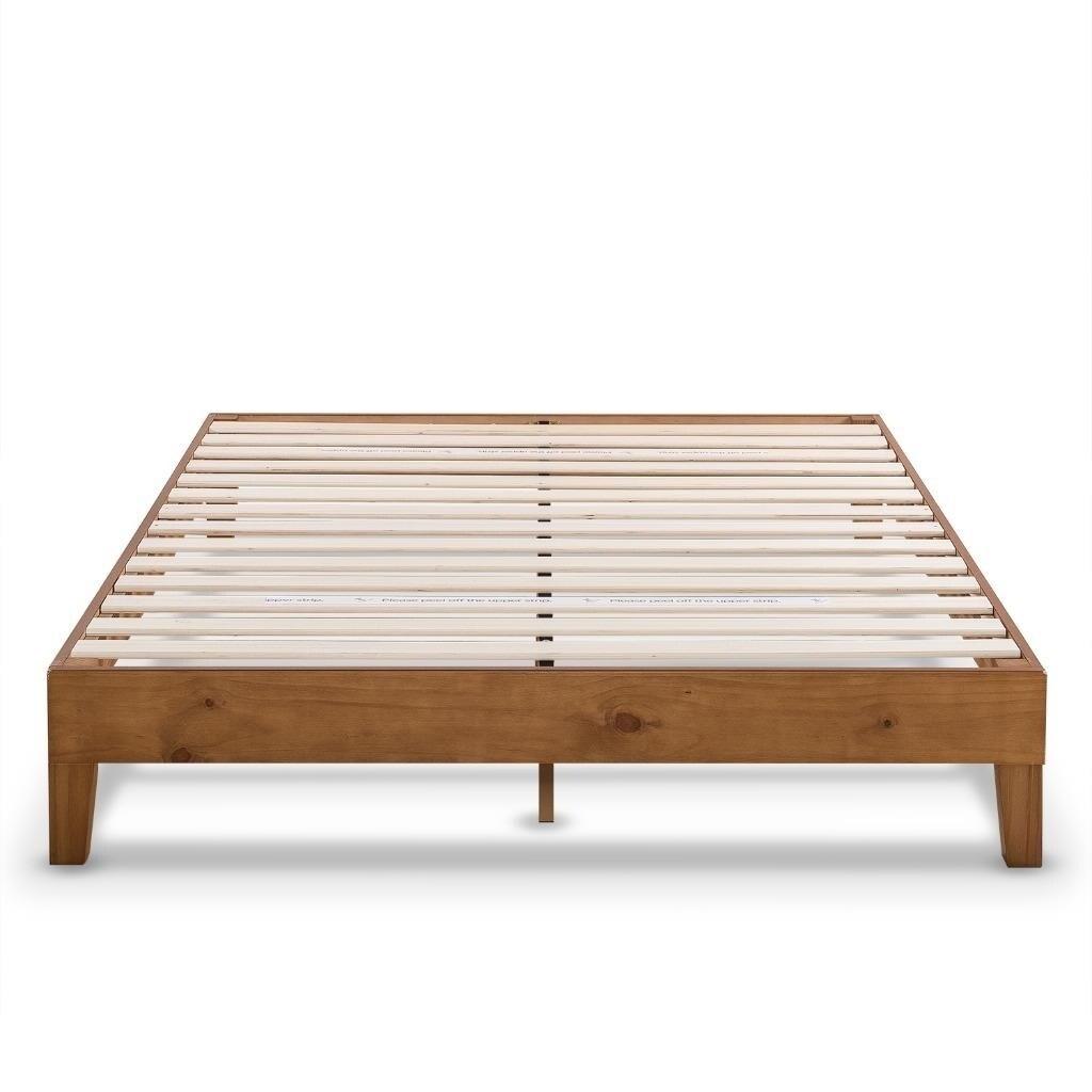 Shop King Size 12 Inch Grand Solid Wood Platform Bed Frame, Natural ...