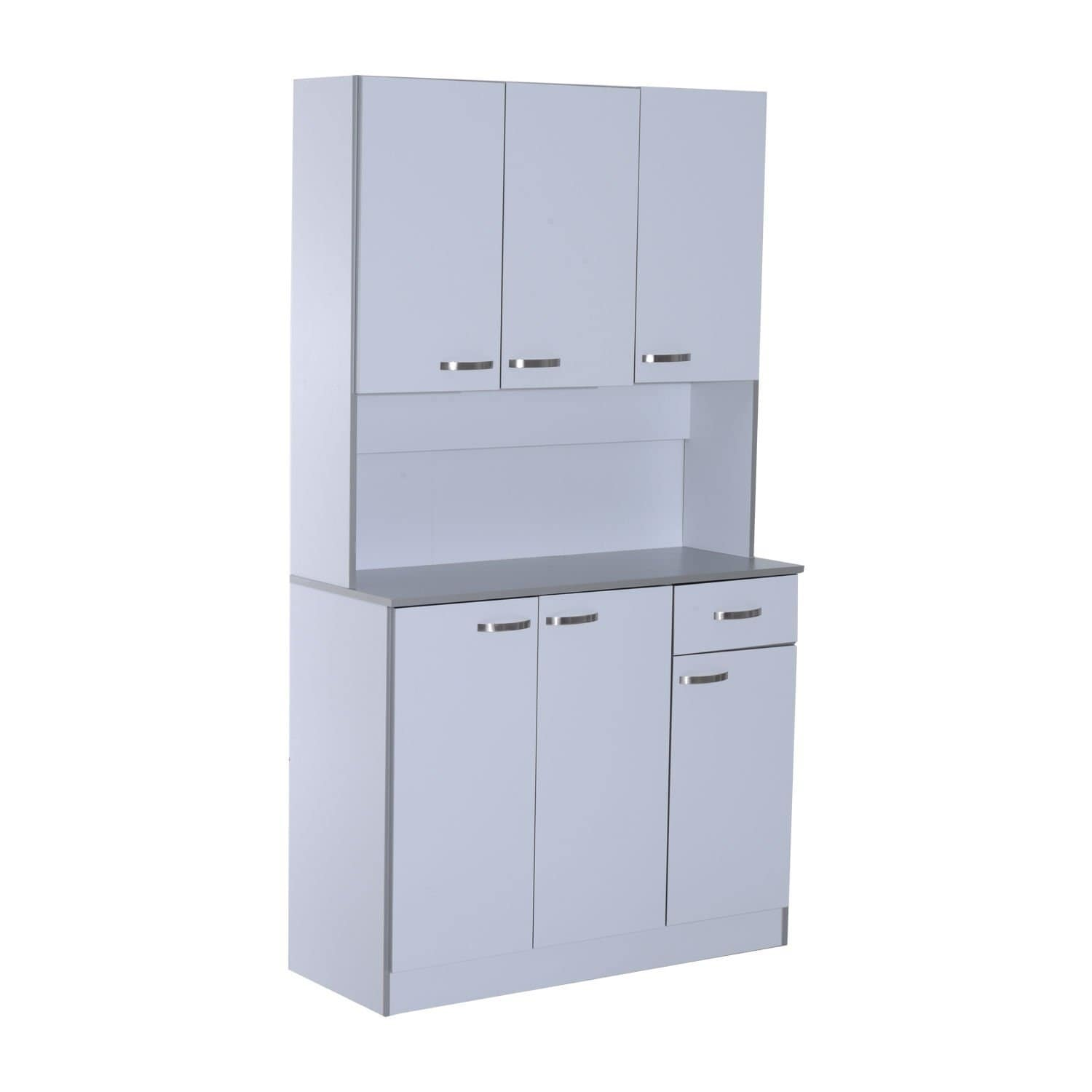 Shop homcom 71 microwave storage cabinet with doors and shelves white free shipping today overstock com 22378576