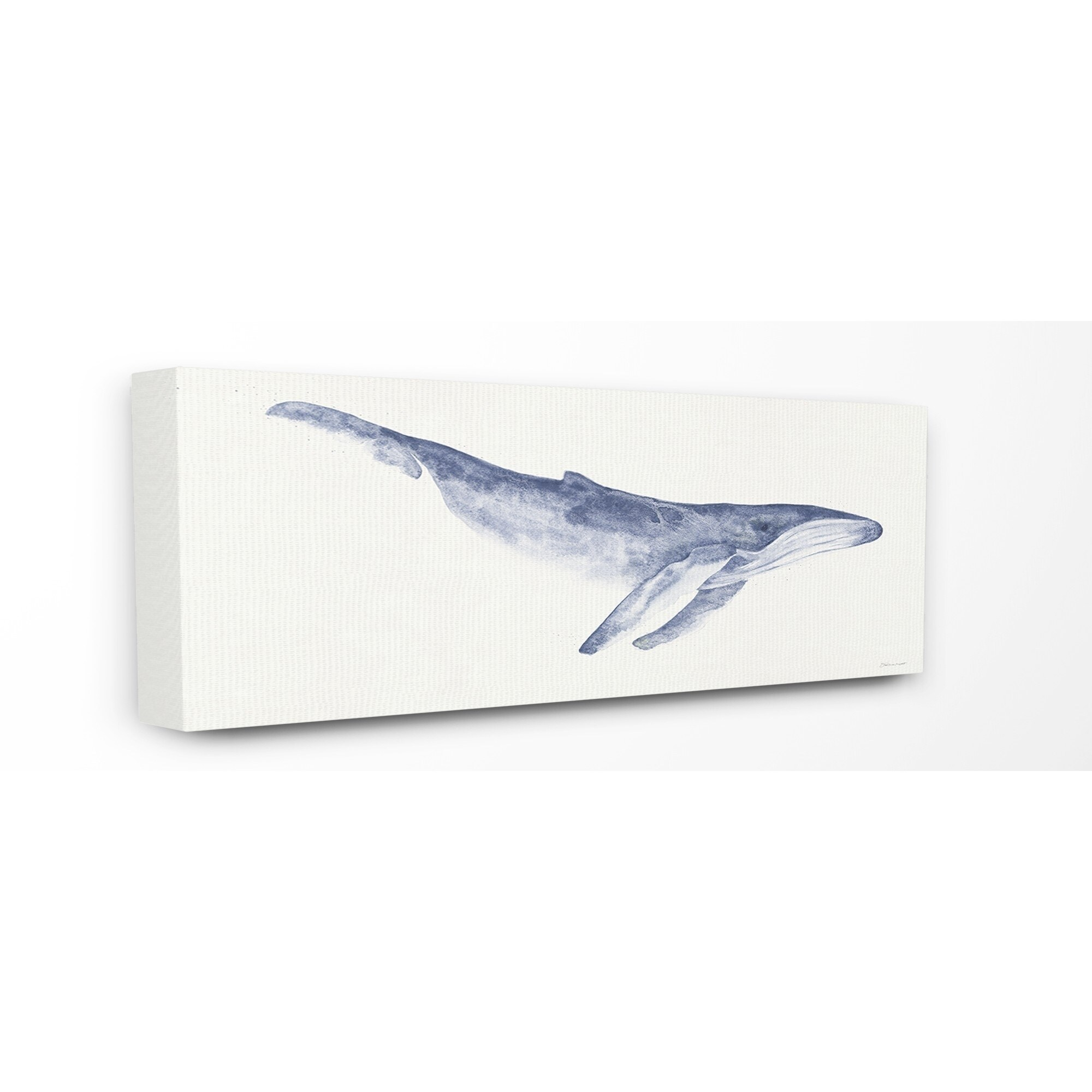The Stupell Home Decor Collection Blue Whale Watercolor Ilration Canvas 10 X 1 5 24 Made In Usa Multi Color