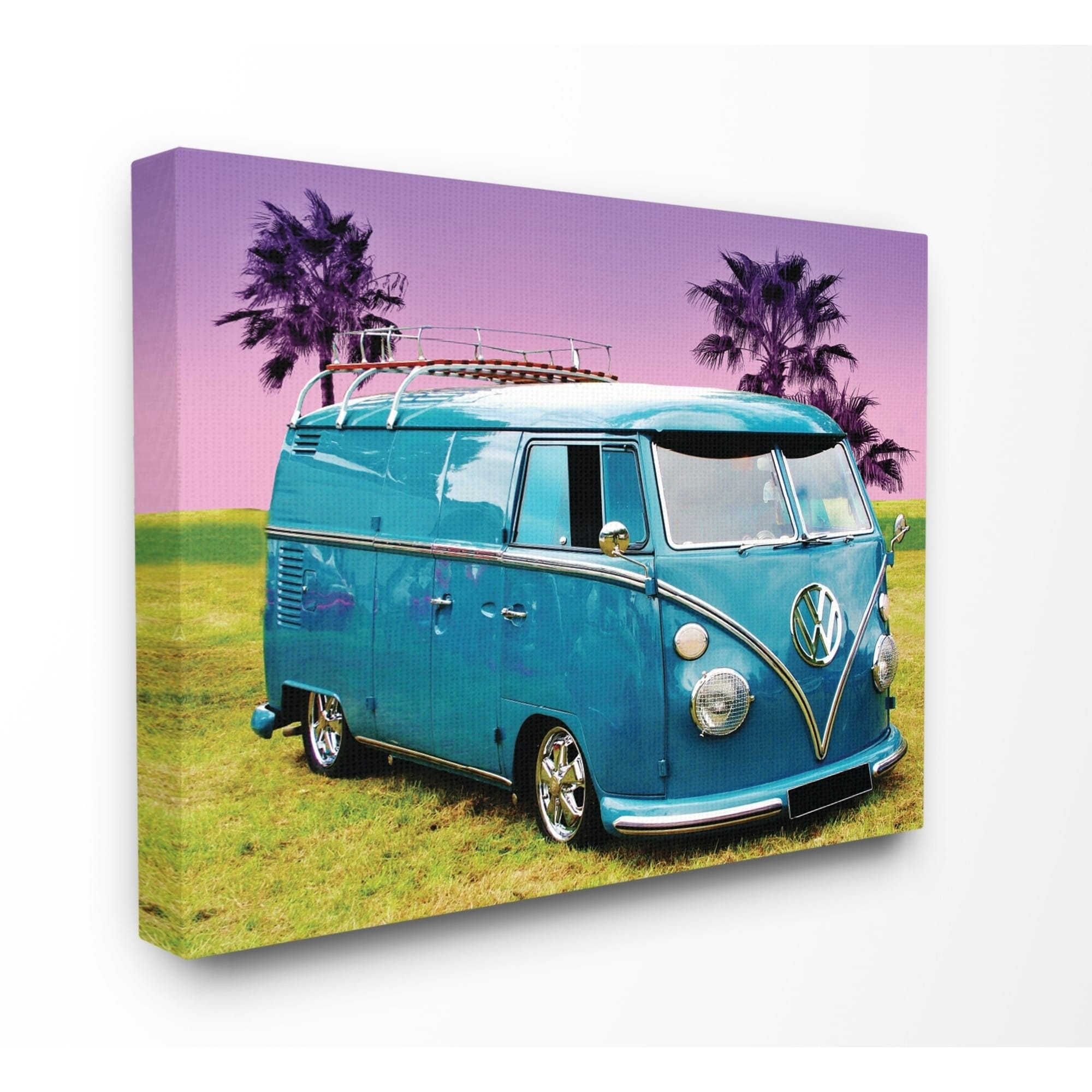 The Stupell Home Decor Collection Vintage 70s Blue Vw Bus With Purple Palm Trees Canvas 16 X 1 5 20 Made In Usa Free Shipping On Orders Over 45