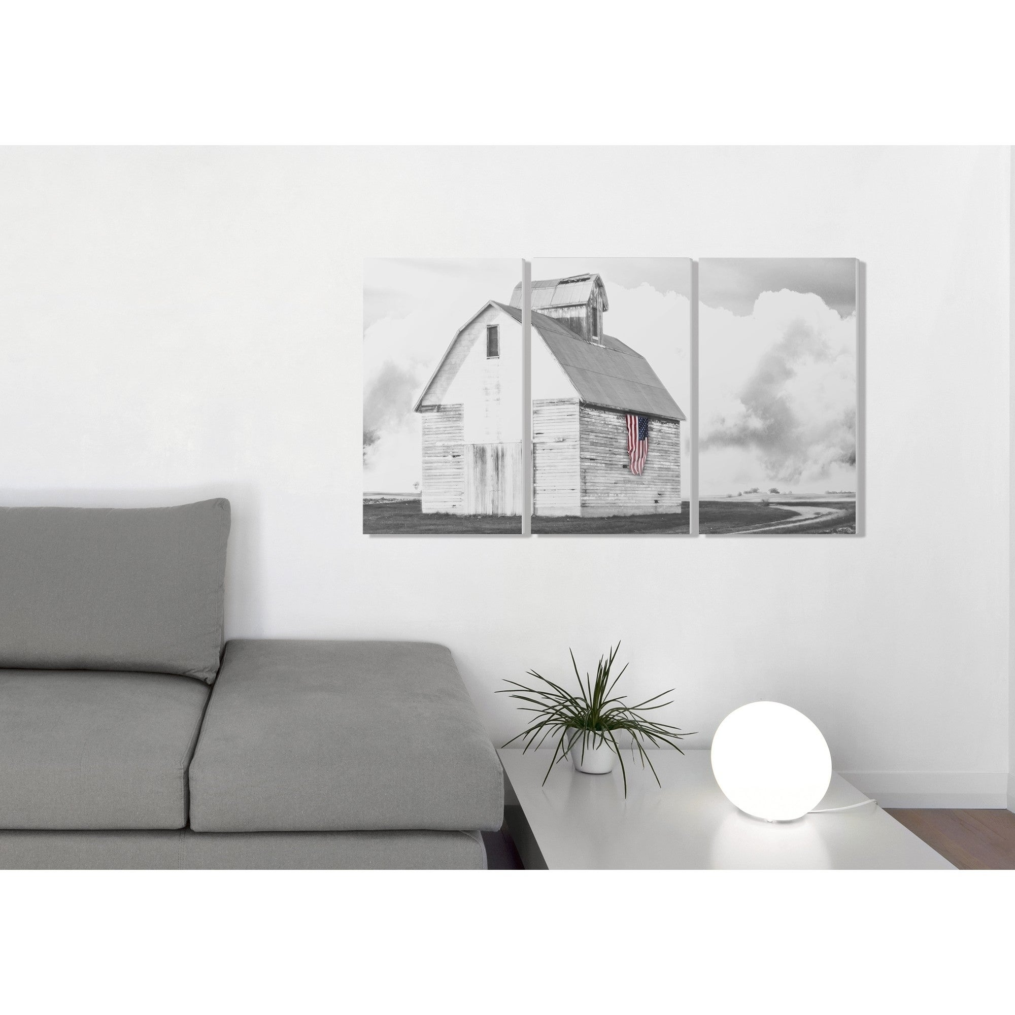 1660f593e2ce Shop The Stupell Home Decor Collection White Barn with American Flag Black  and Grey