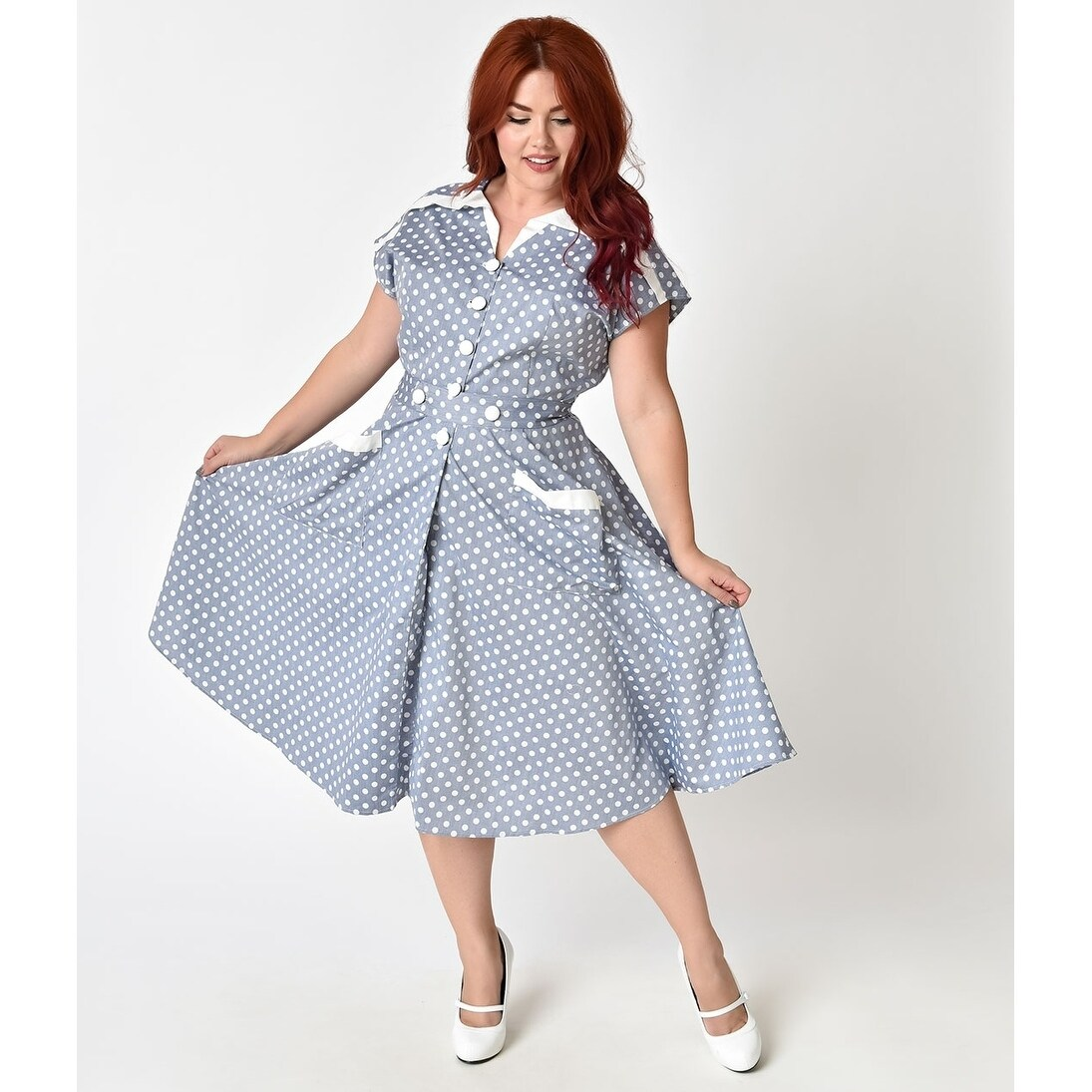 dc31c712e4ca4 Shop Unique Vintage Light Blue & Ivory Dotted Hedda Swing Dress - Free  Shipping Today - Overstock - 22380577