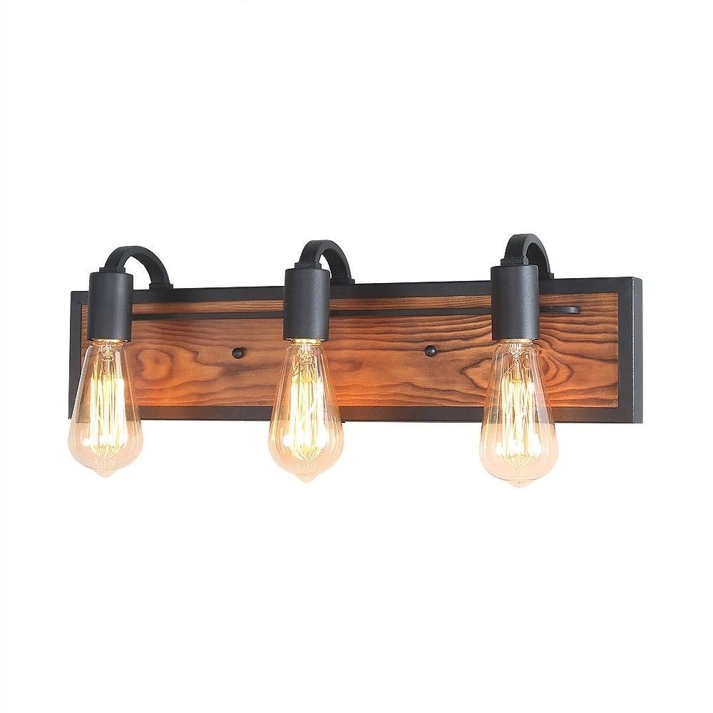 Lnc 3 Light Rustic Wall Lighting Black Lamps Wood Sconces