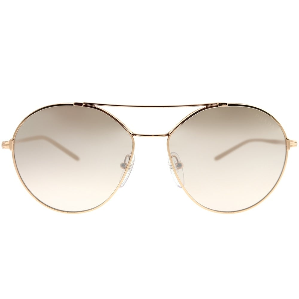 559203fc3ec Shop Prada Round PR 56US SVF204 Woman Pink Gold Frame Brown Mirror Gradient  Lens Sunglasses - Free Shipping Today - Overstock - 22391842