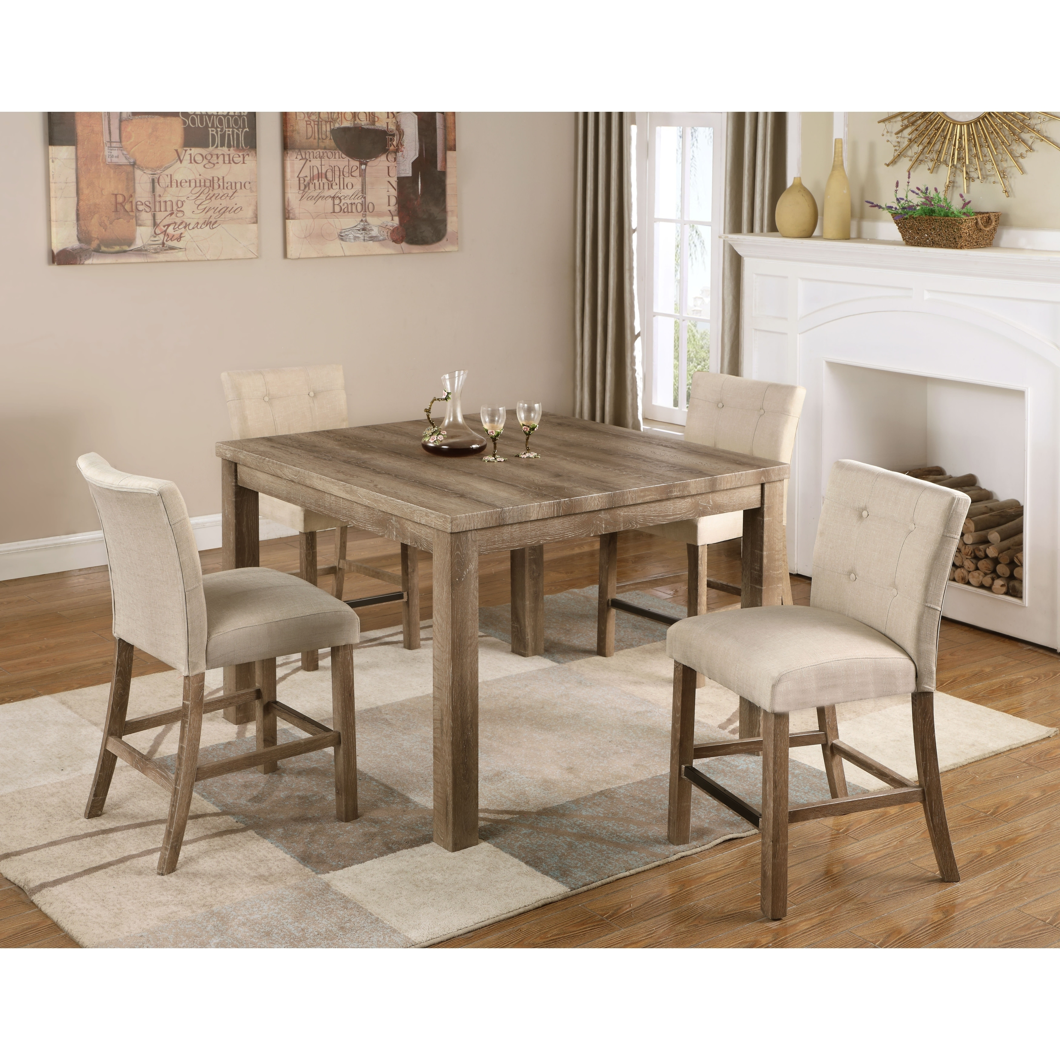 Best Master Furniture Light Oak Wood Square Counter Height Table   Free  Shipping Today   Overstock   28028180