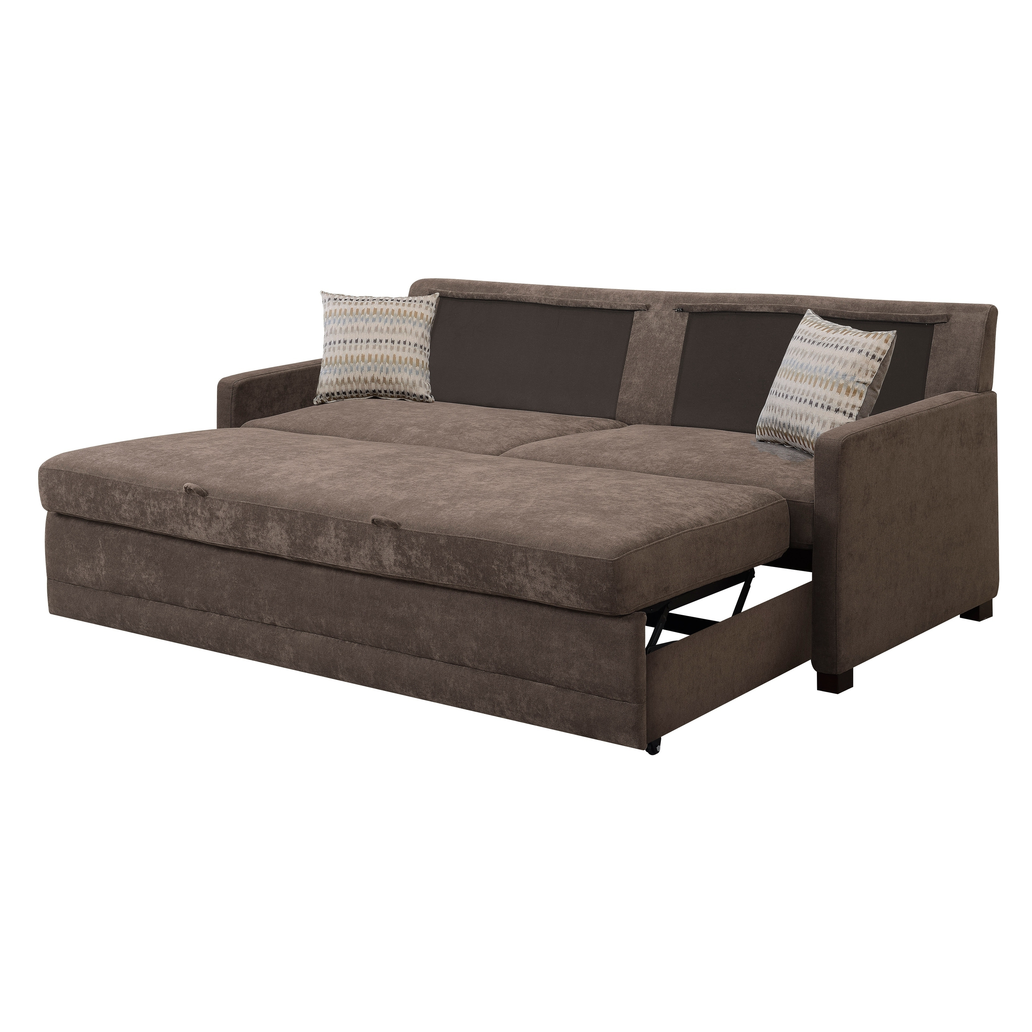 Shop Serta Salinas Dream Convertible Sofa Queen Brown - Free ...