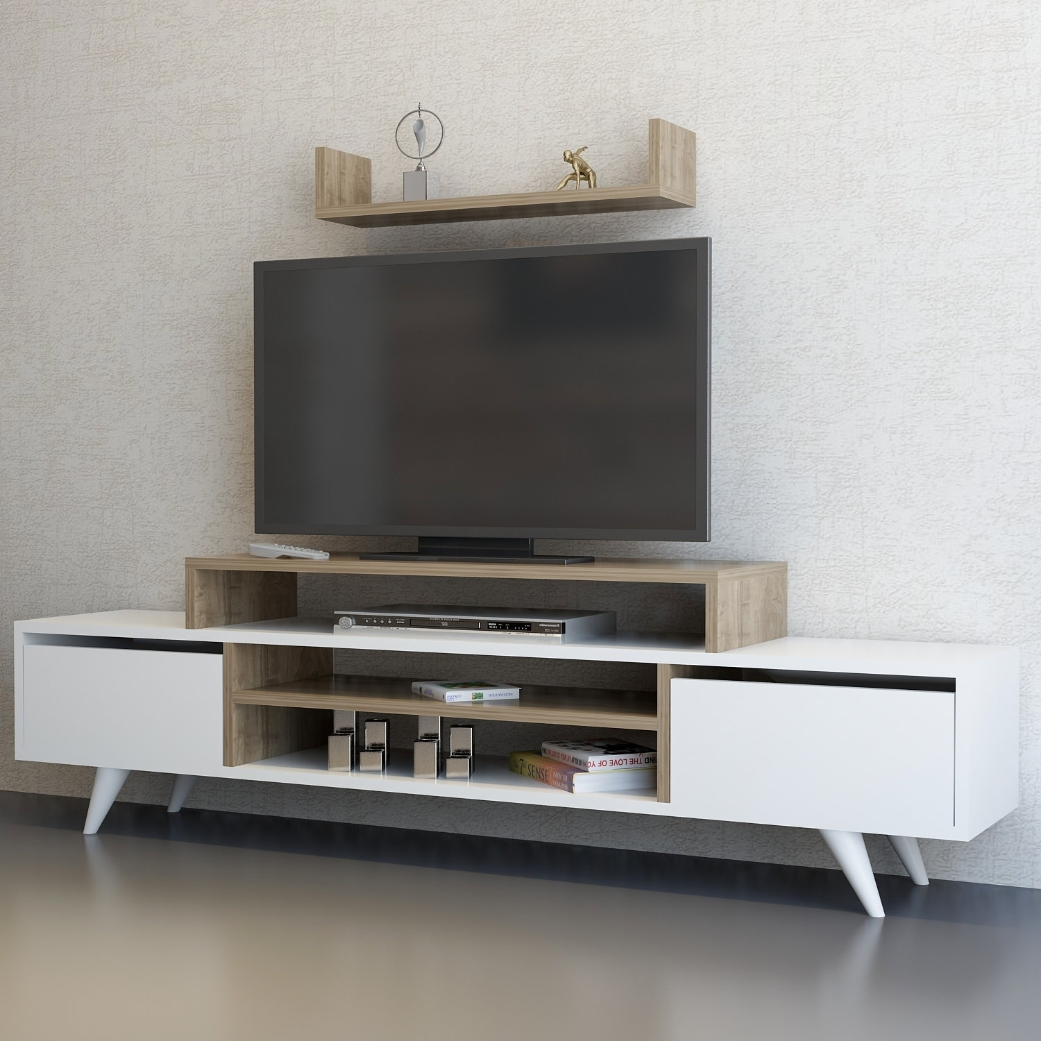 Decorotika Melanie 71 Inch Tv Stand With Open Shelves Free Shipping Today 22393225