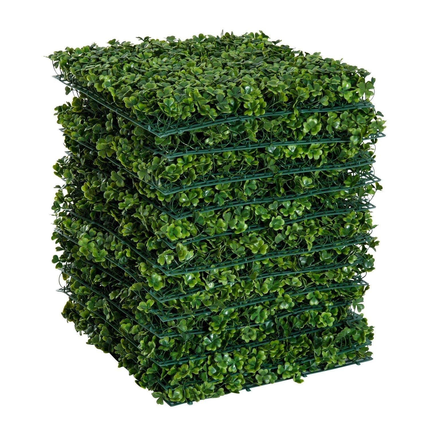Outsunny 12 Piece 20 X Artificial Boxwood Hedge Mat Panels Outdoor Patio Clover