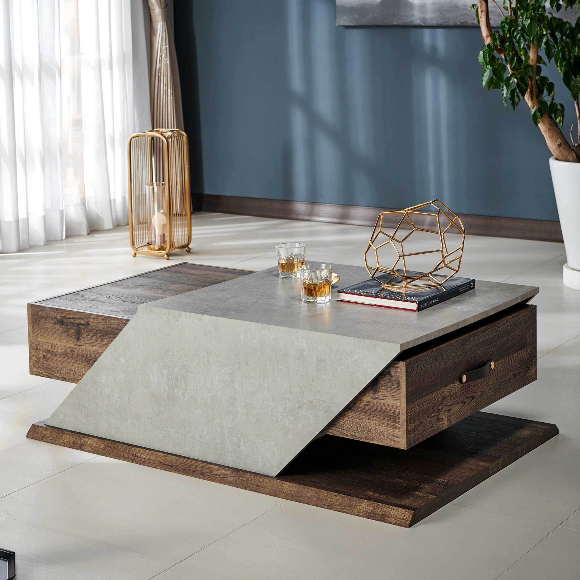Shop furniture of america enixa modern adjustable two tone coffee table on sale free shipping today overstock com 22393378