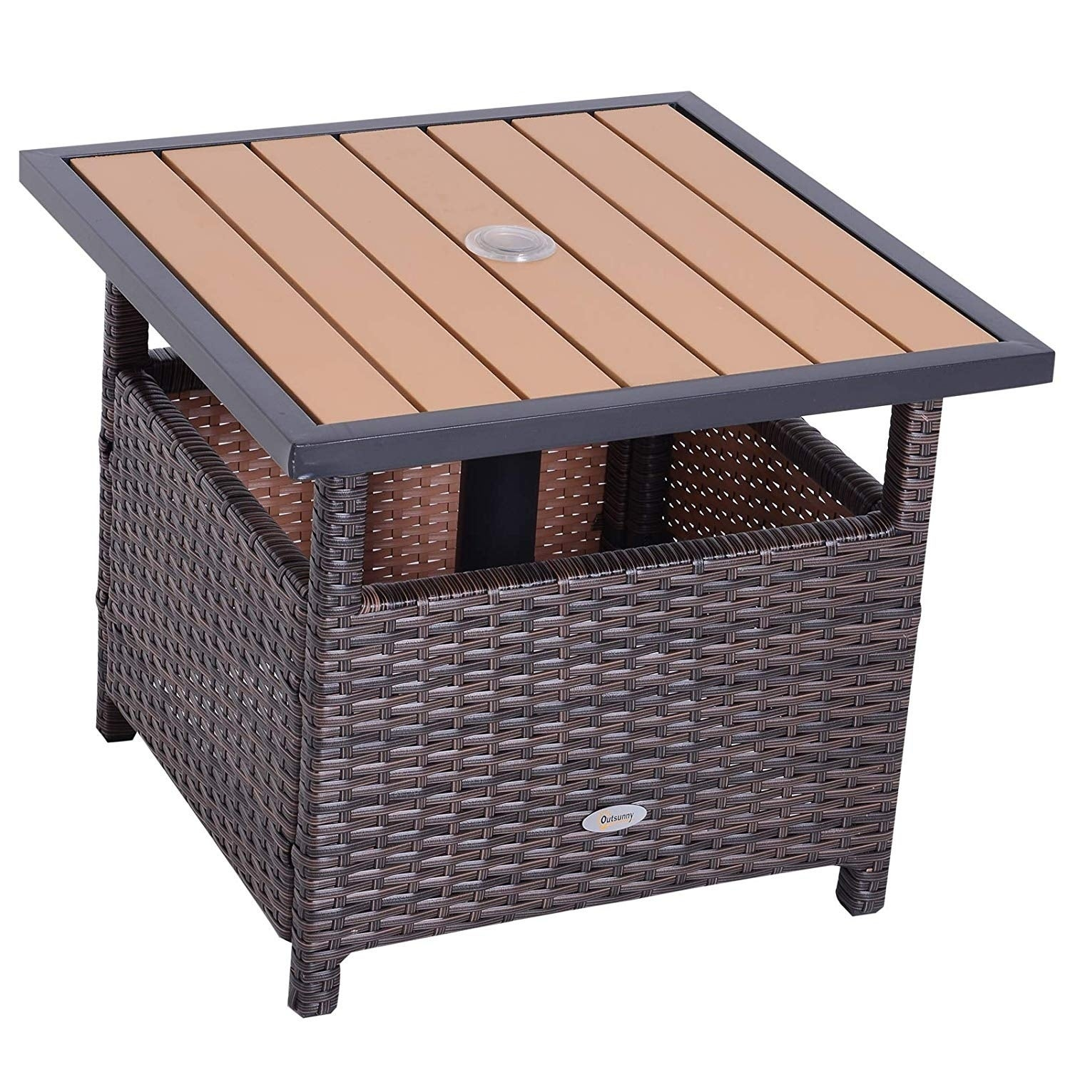 Outsunny Rattan Wicker Outdoor Accent Table With Umbrella Insert