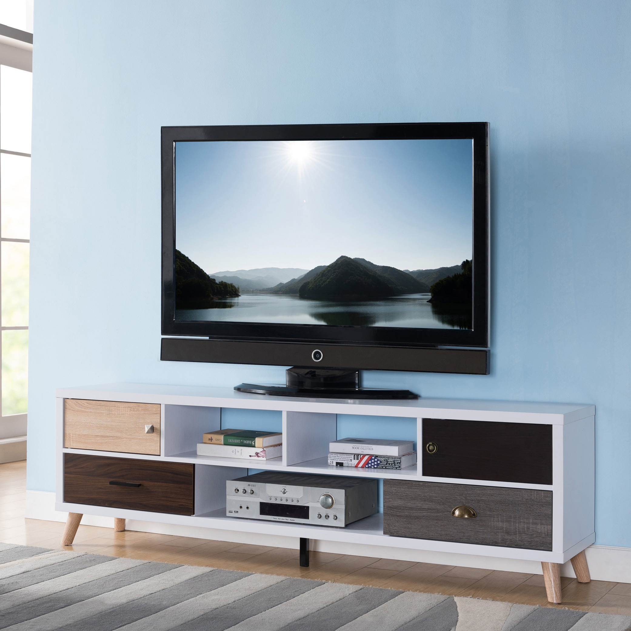 Furniture Of America Kristen Mid Century Modern Multicolored Storage Tv Stand Free Shipping Today 22397981