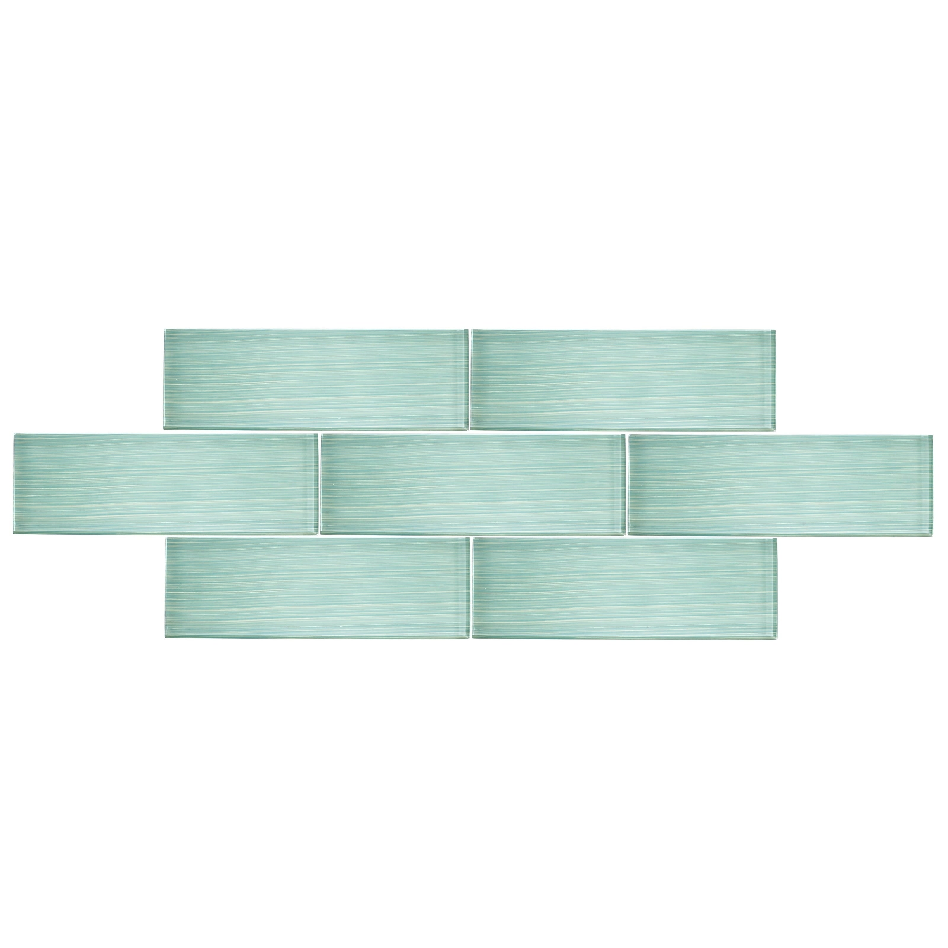 Shop 4 X 12 Glass Subway Tile In Handpainted Spring Blue Free