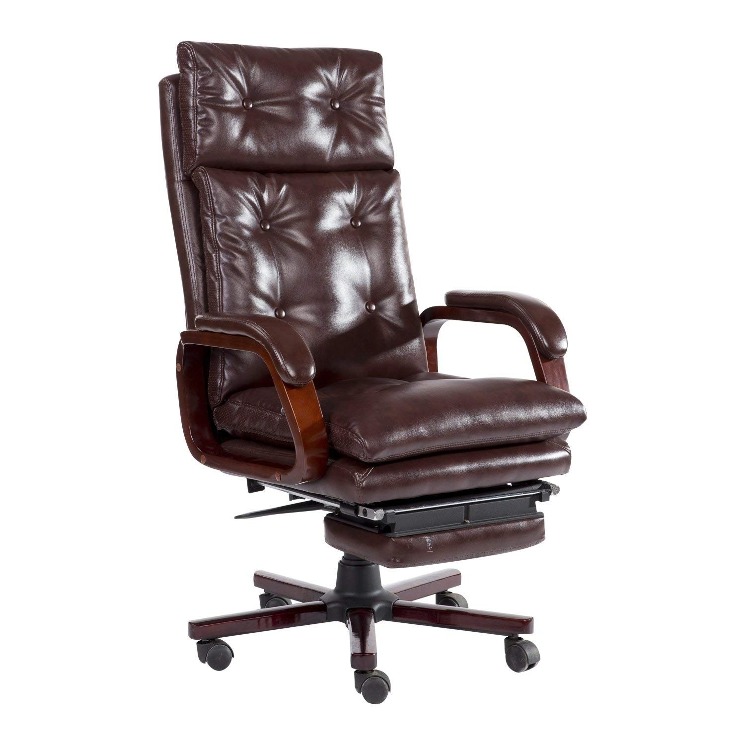 Shop HomCom High Back PU Leather Executive Reclining Home Office Chair With Retractable Footrest - Free Shipping Today - Overstock.com - 22404702  sc 1 st  Overstock.com & Shop HomCom High Back PU Leather Executive Reclining Home Office ...