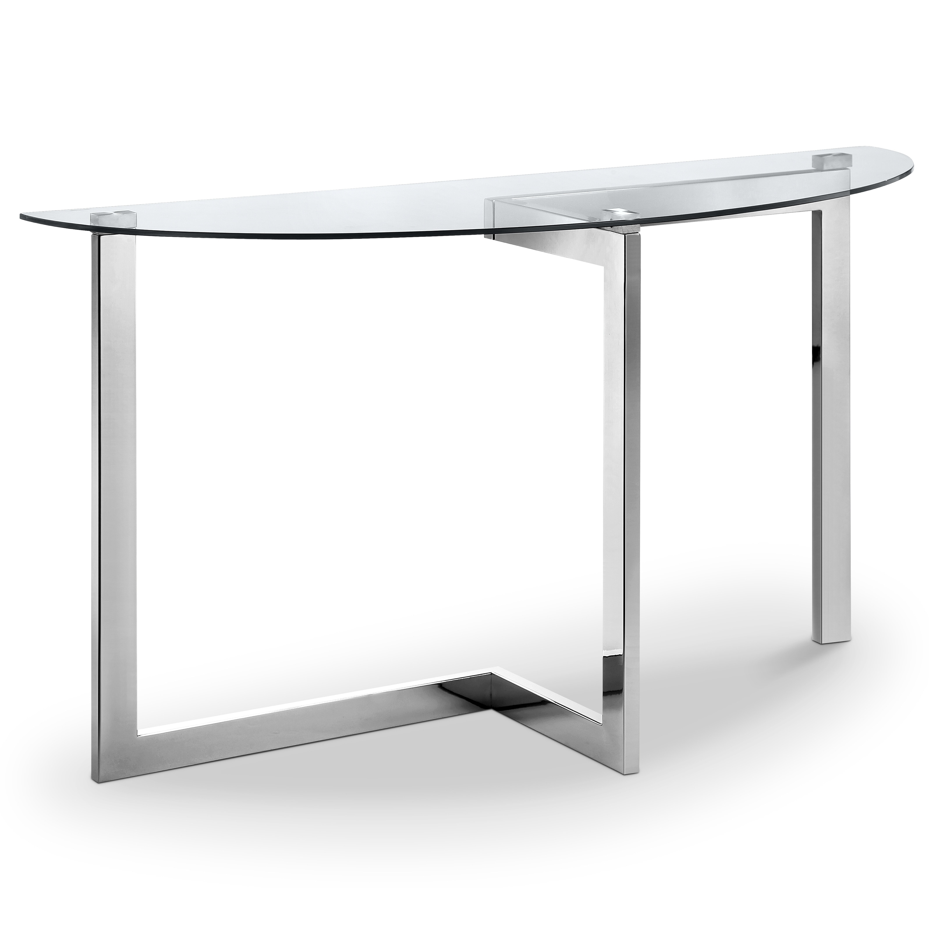 Shop Aries Modern Chrome And Glass Top Demilune Sofa Table On Sale