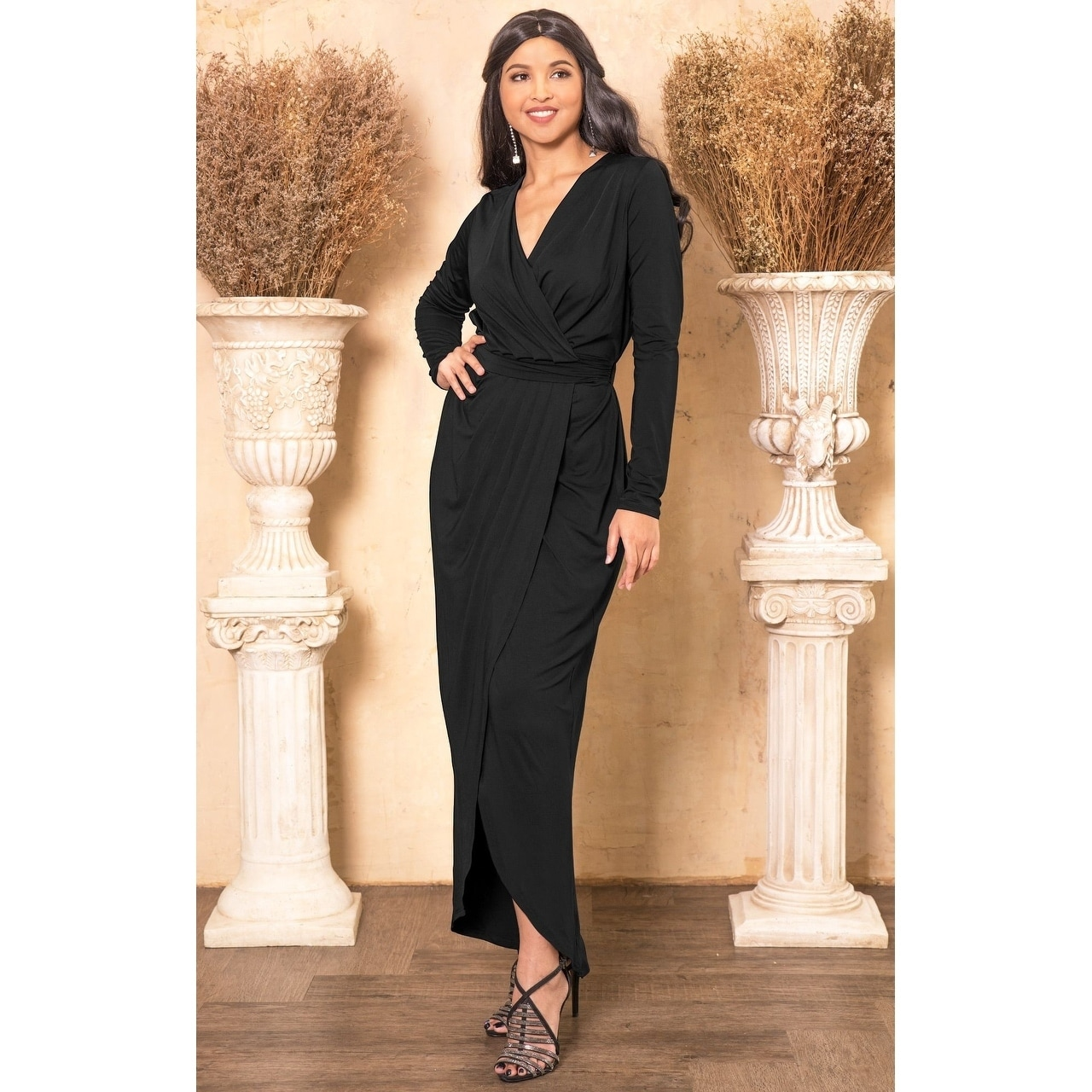 af909cc065c KOH KOH Womens Long Sleeve Cocktail Party V-Neck Wrap Gown Maxi Dress