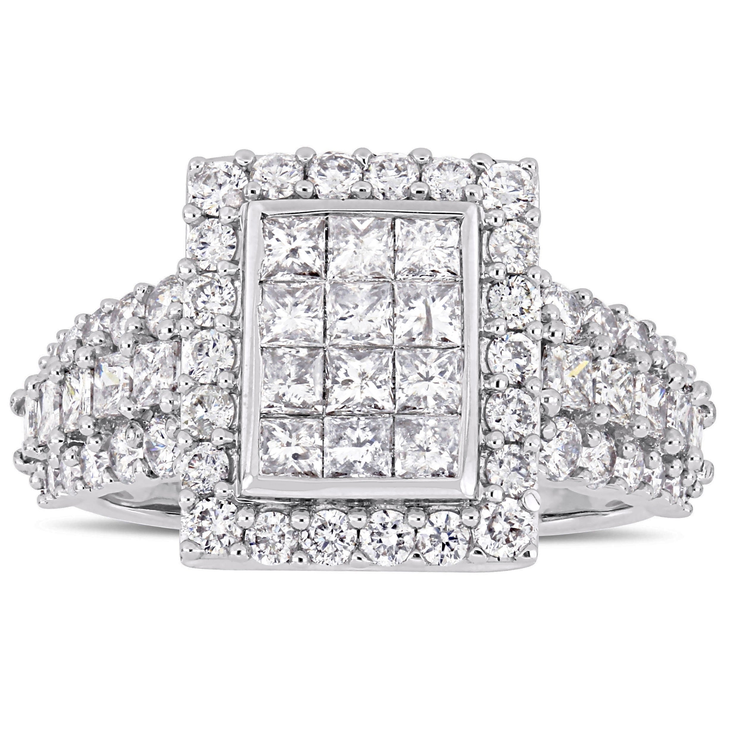 4c93c1ef50a6 Miadora Signature Collection 14k White Gold 2ct TDW Princess and Round-Cut  Diamond 3-Row Double Composite Halo Engagement Ring