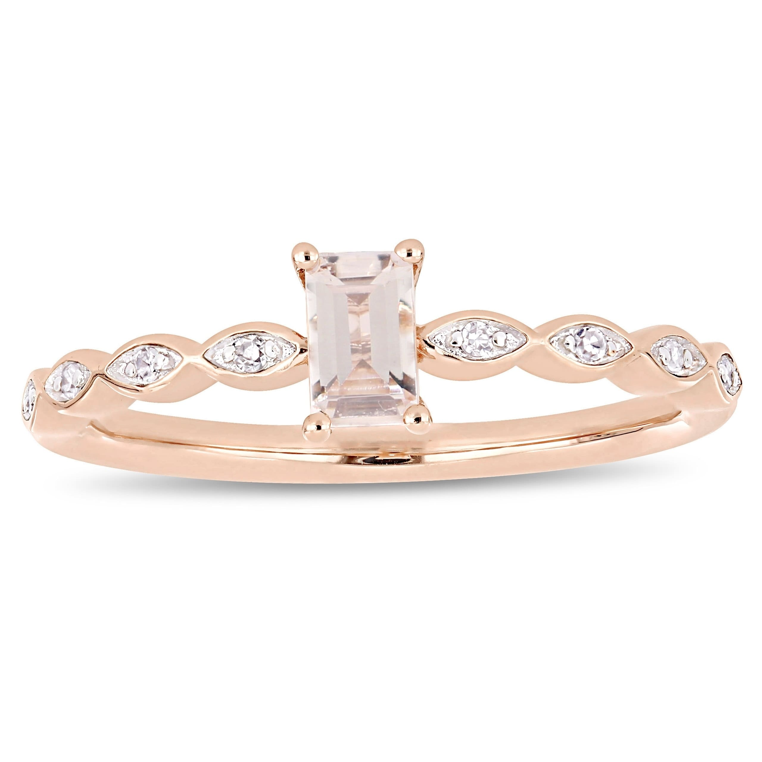 ac3fd0570 Miadora 10k Rose Gold 1/4ct TDW Marquise and Round-Cut Diamond Infinity  Engagement Ring