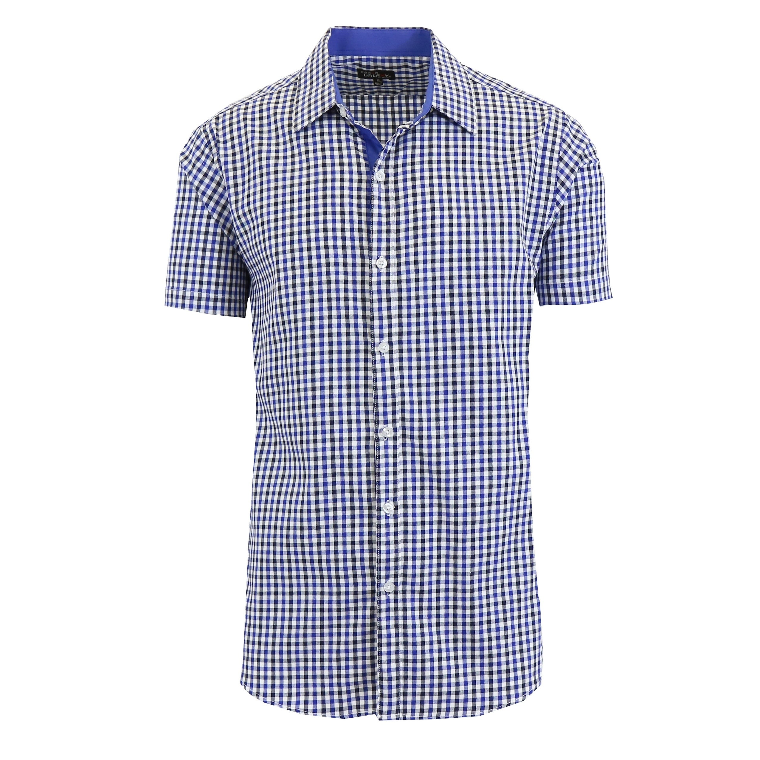 e016473b Galaxy By Harvic Men's Short Sleeve Slim Fit Gingham Casual Dress Shirts