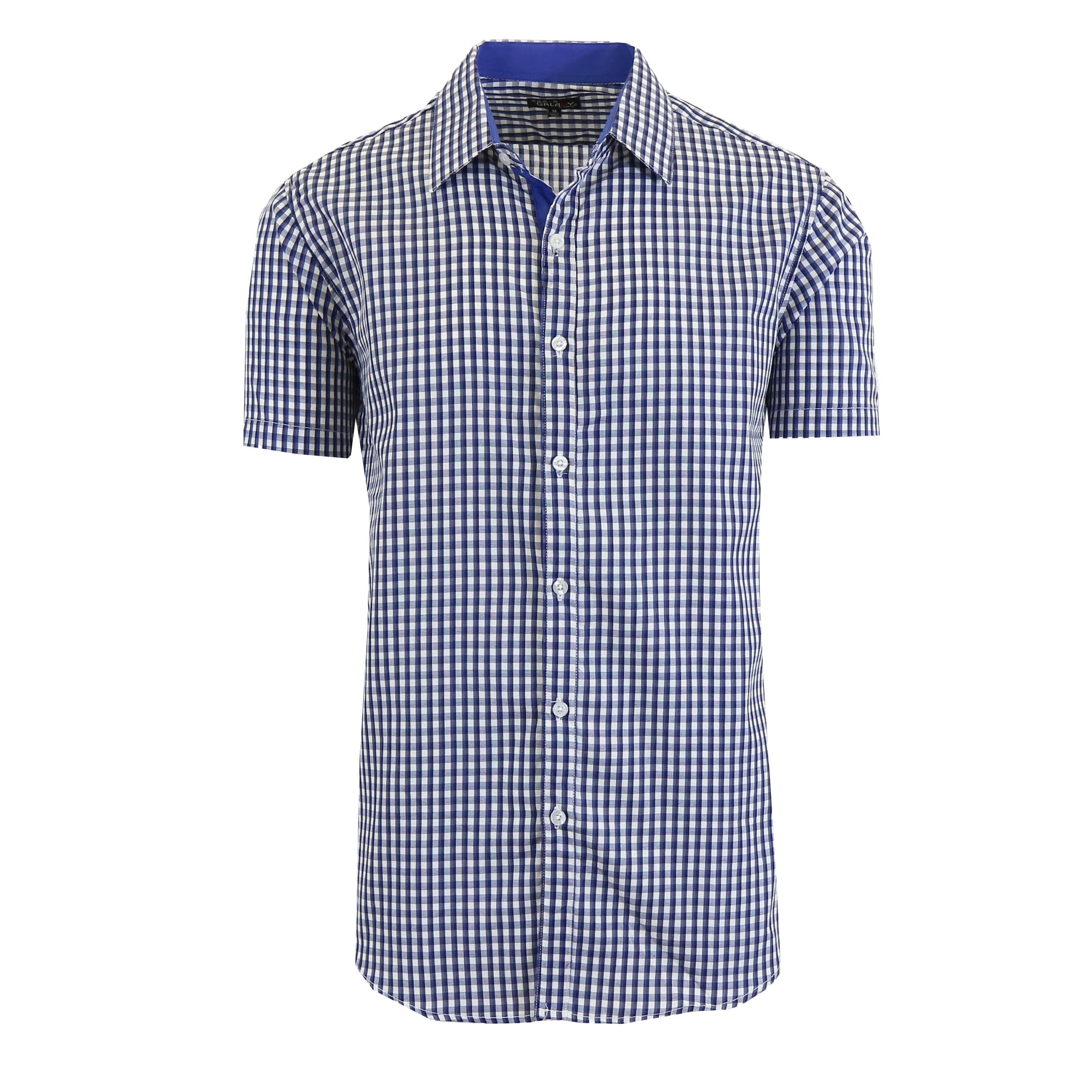 7410892a Shop Galaxy By Harvic Men's Short Sleeve Slim Fit Gingham Casual Dress  Shirts - On Sale - Free Shipping On Orders Over $45 - Overstock - 22422842