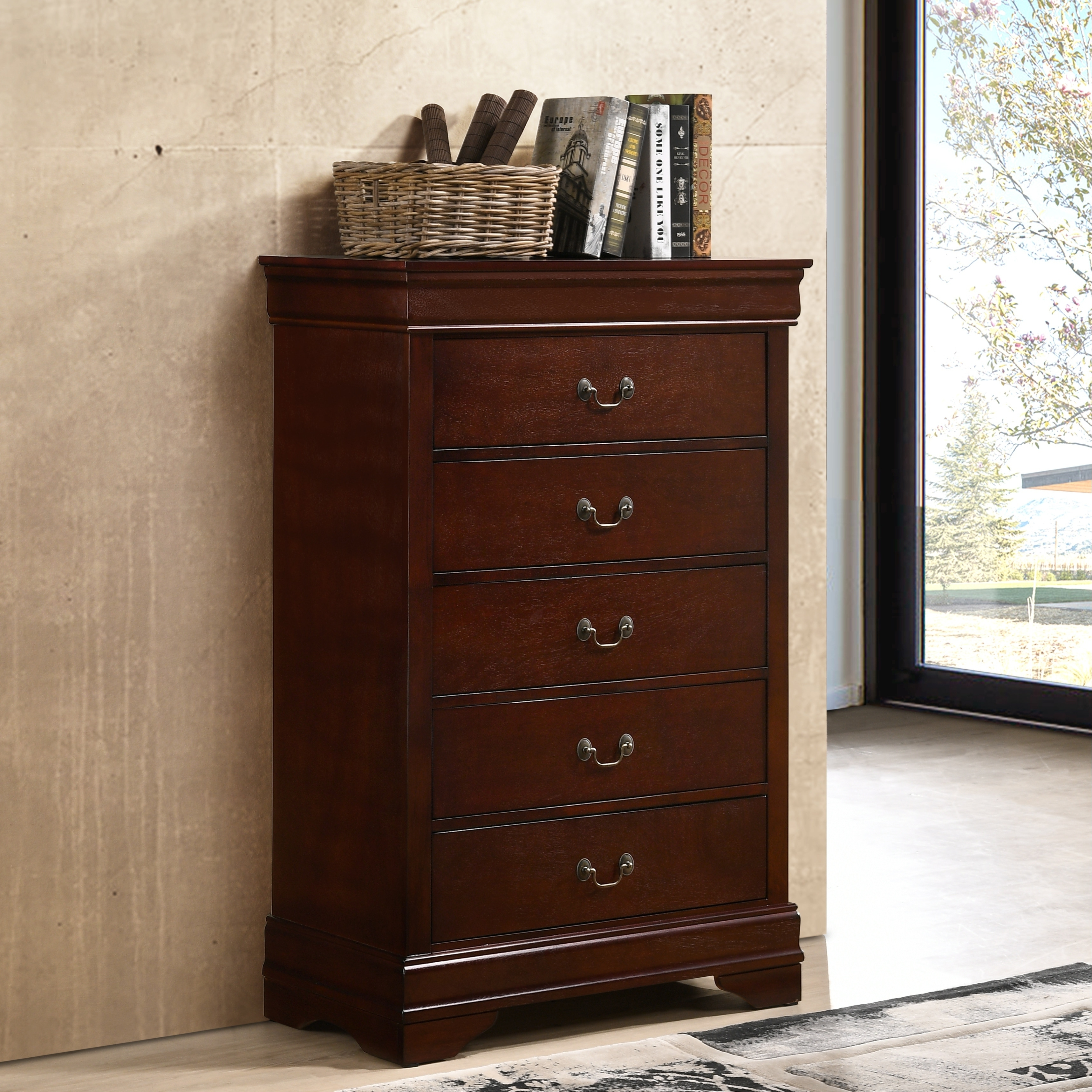 Shop isola louis philippe style cherry finish fully assembled wood chest free shipping today overstock com 22423911