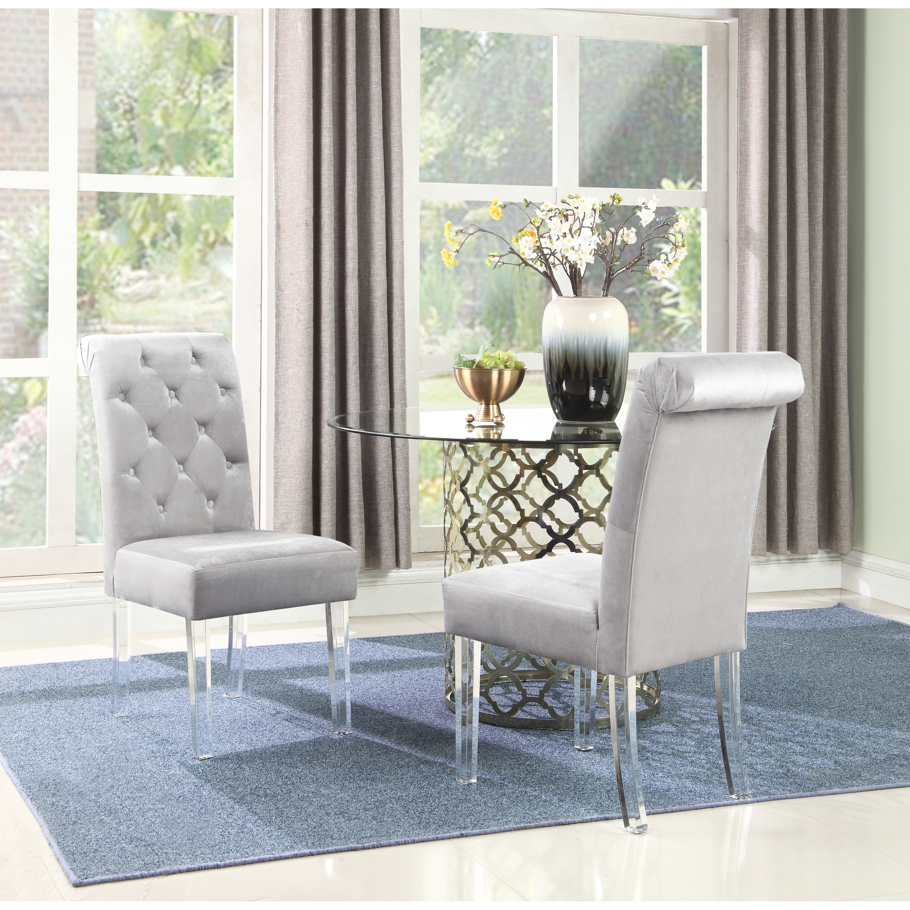 Shop Chic Home Tate Velvet Upholstered Dining Chairset Of 2 On