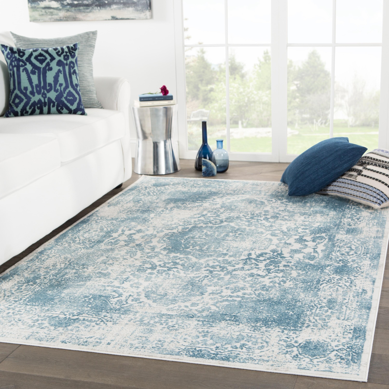 Juniper home galen medallion blue light grey viscose area rug 76 x 96