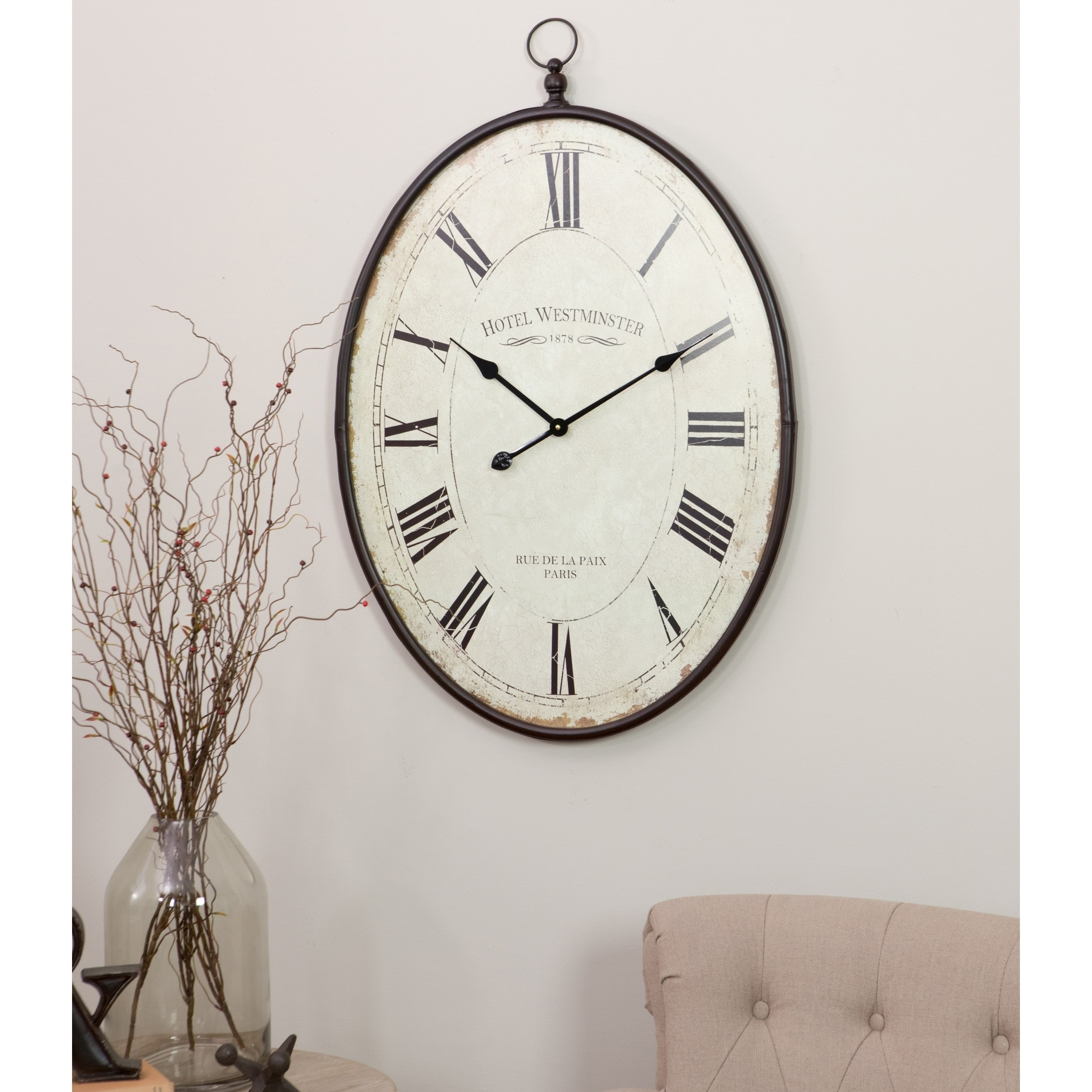 Shop ines large oval wall clock free shipping today overstock com 22466224