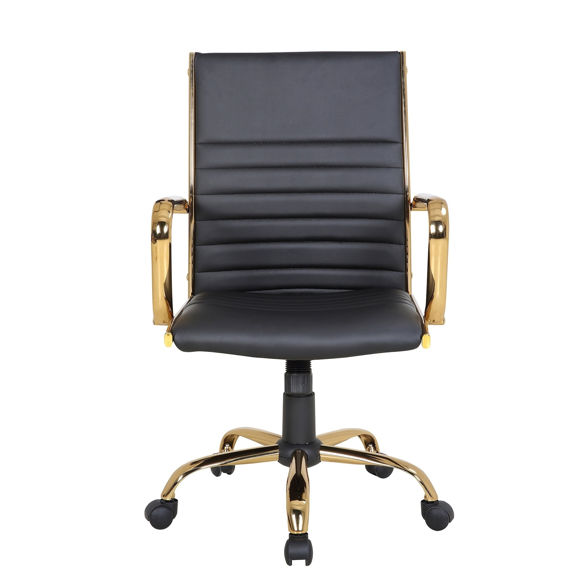 Shop Master Contemporary Faux Leather Office Chair with Gold Metal by LumiSource - Free Shipping Today - Overstock.com - 22466500  sc 1 st  Overstock.com & Shop Master Contemporary Faux Leather Office Chair with Gold Metal ...
