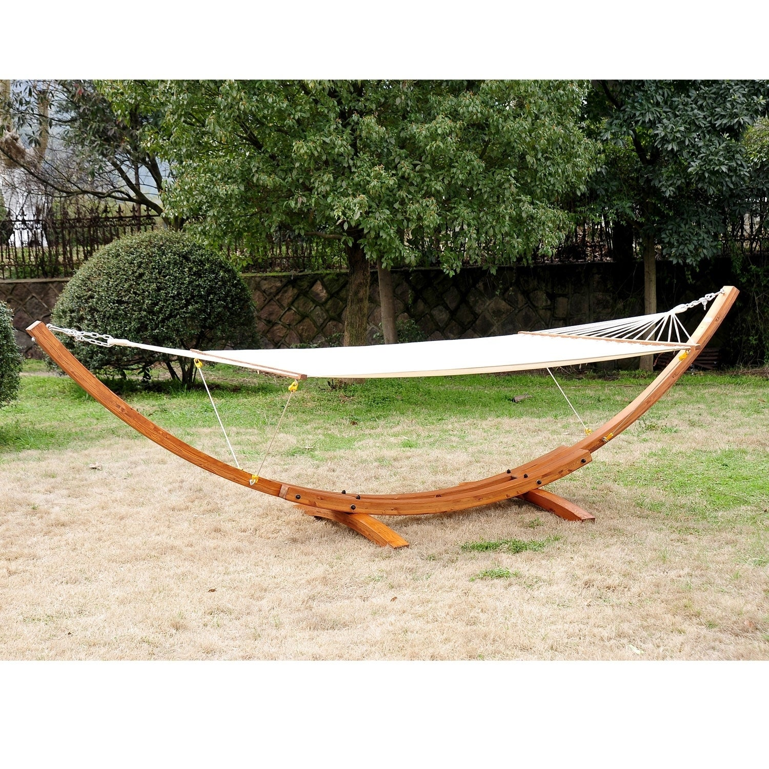 Outsunny Double Wide Wood Arc Outdoor Hammock Stand Set