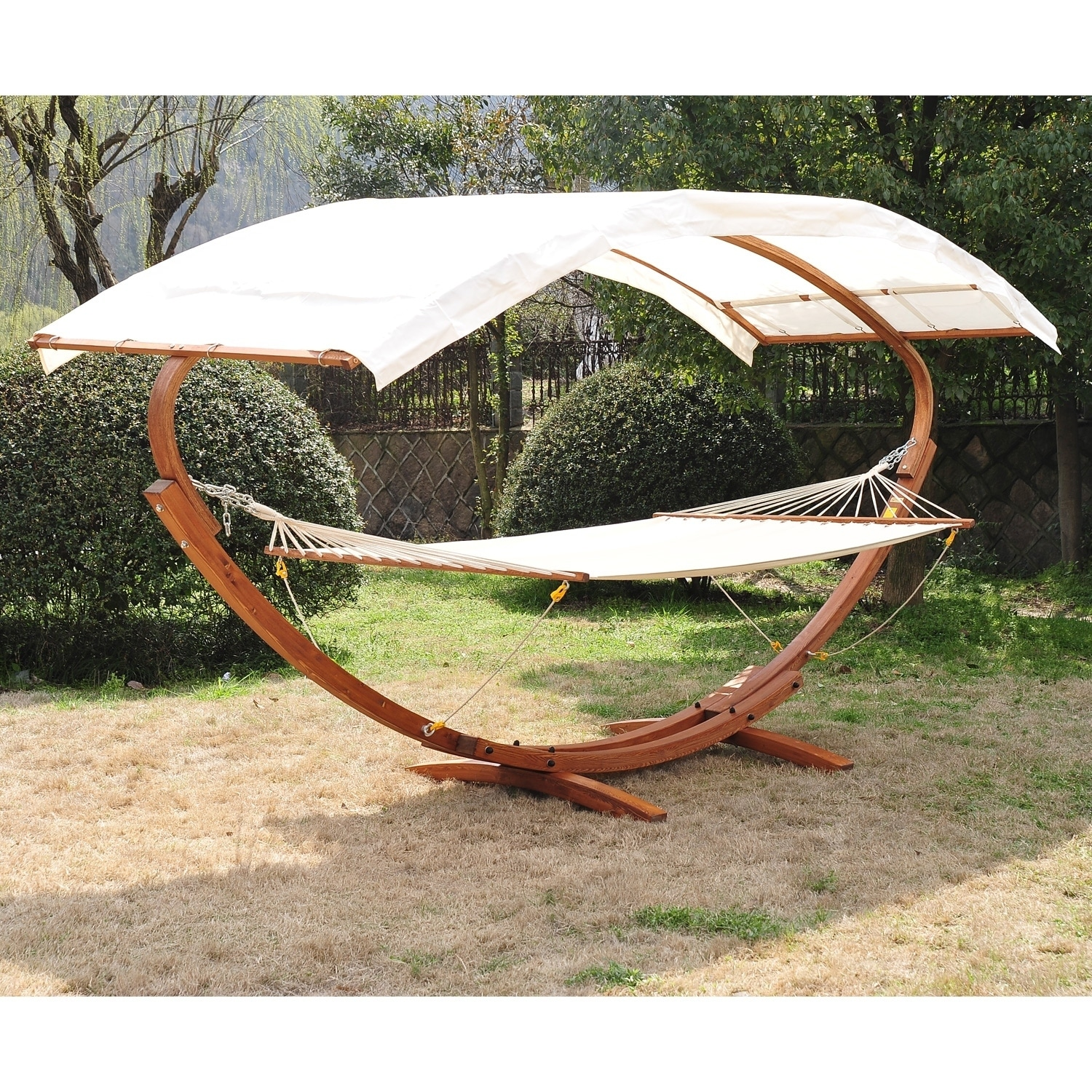 Outsunny 13 Wood Roman Arc Double Outdoor 2 Person Hammock Stand With Canopy