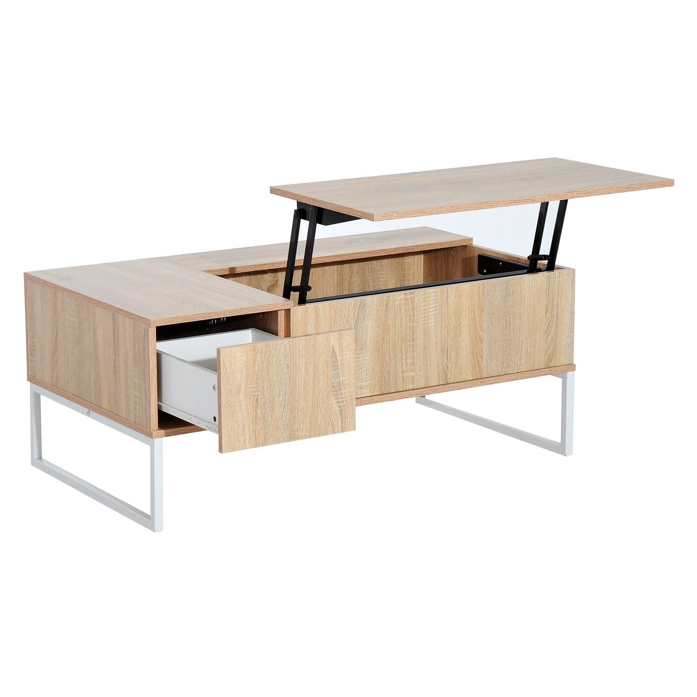Homcom Golden Woodgrain 43 Inch Modern Lift Top Coffee Table Desk With Hidden Storage And Drawer
