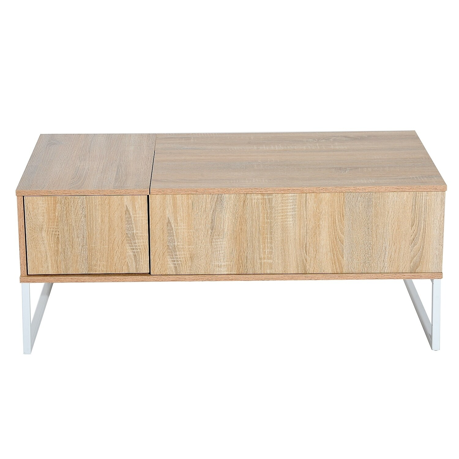 Homcom Golden Woodgrain 43 Inch Modern Lift Top Coffee Table Desk With Hidden Storage And Drawer Free Shipping Today 22468289
