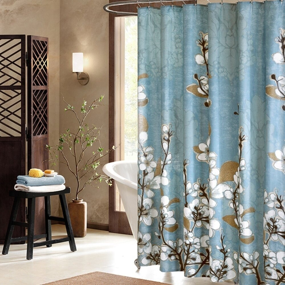 Beautiful White Cherry Blossom Bathroom Shower Curtain - Free ...