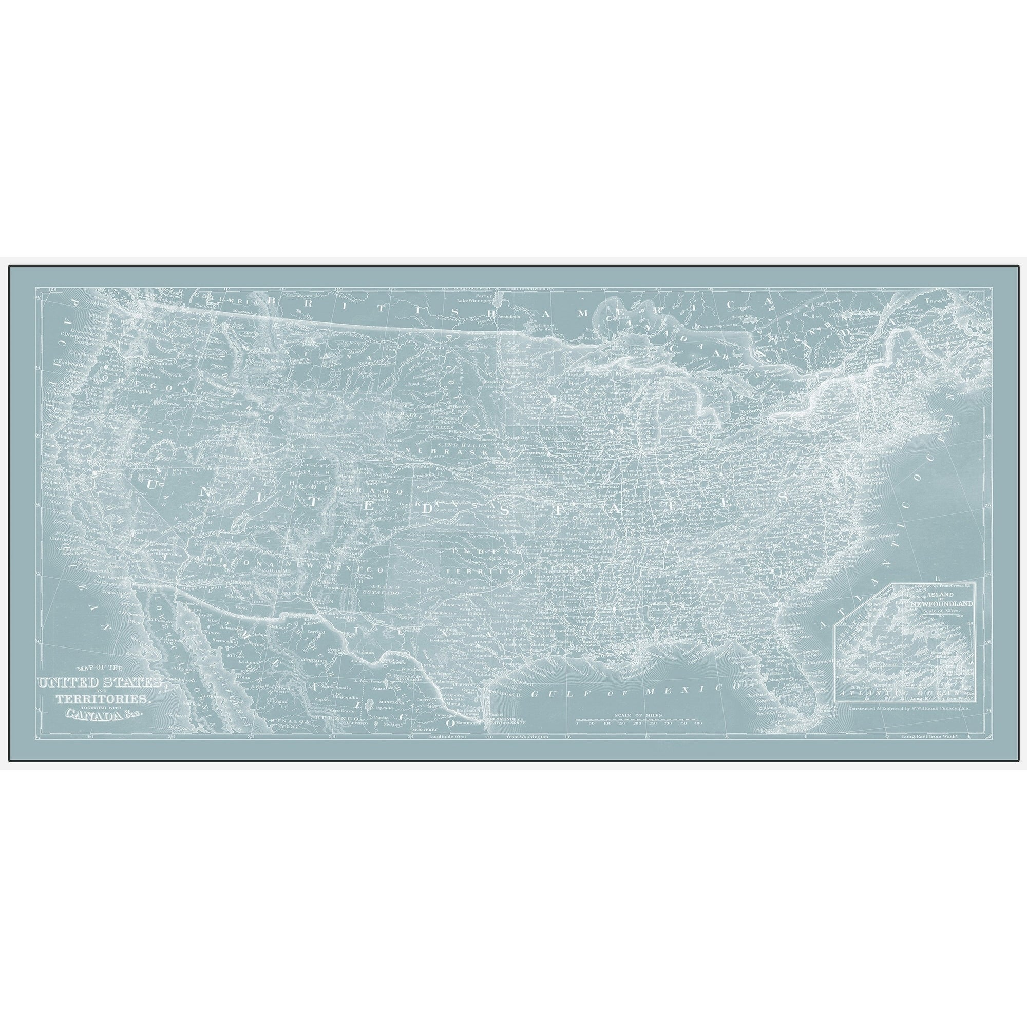 Shop Us Map On Aqua Floater Framed Painting Print On Canvas